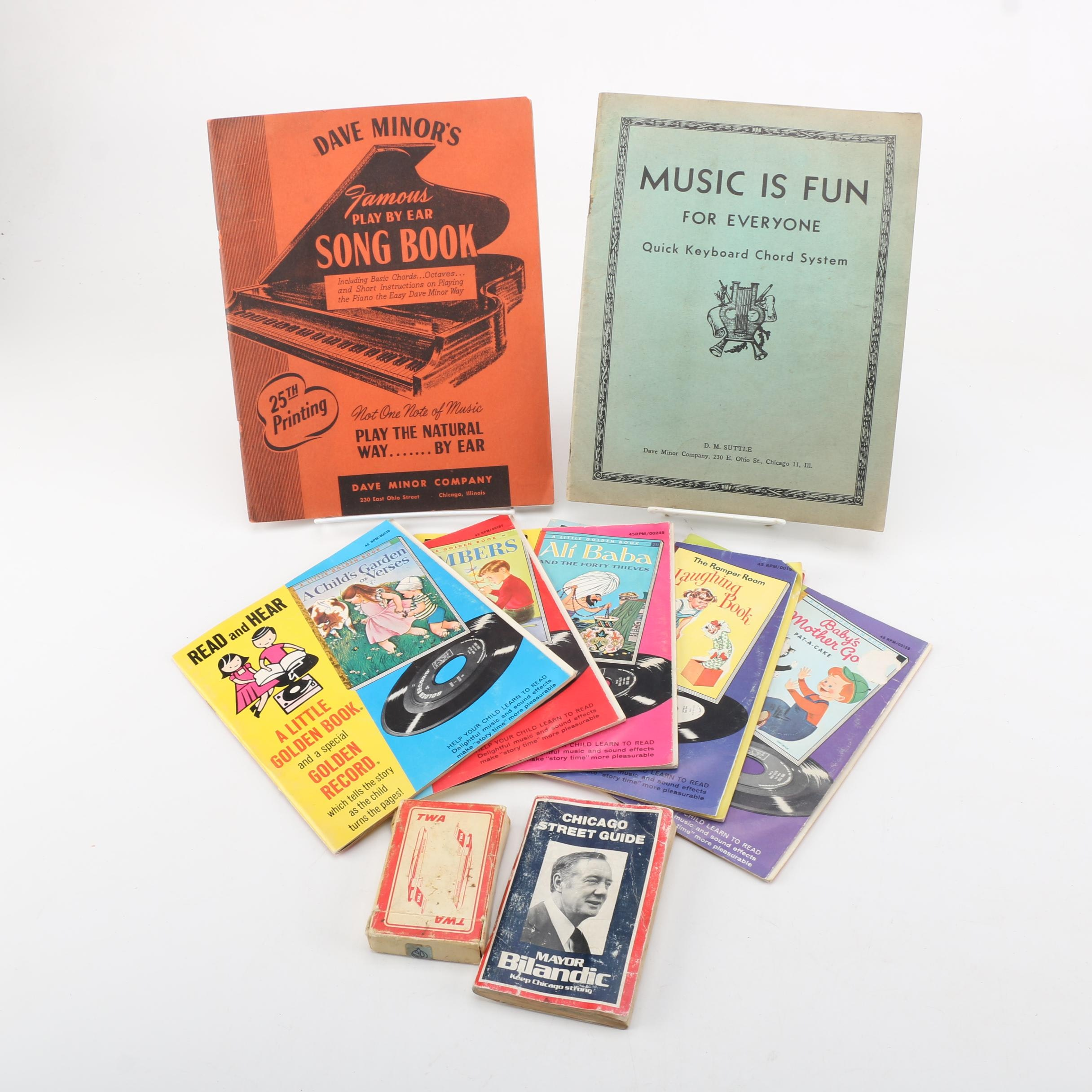Vintage Books Including Little Golden Book and Record Sets
