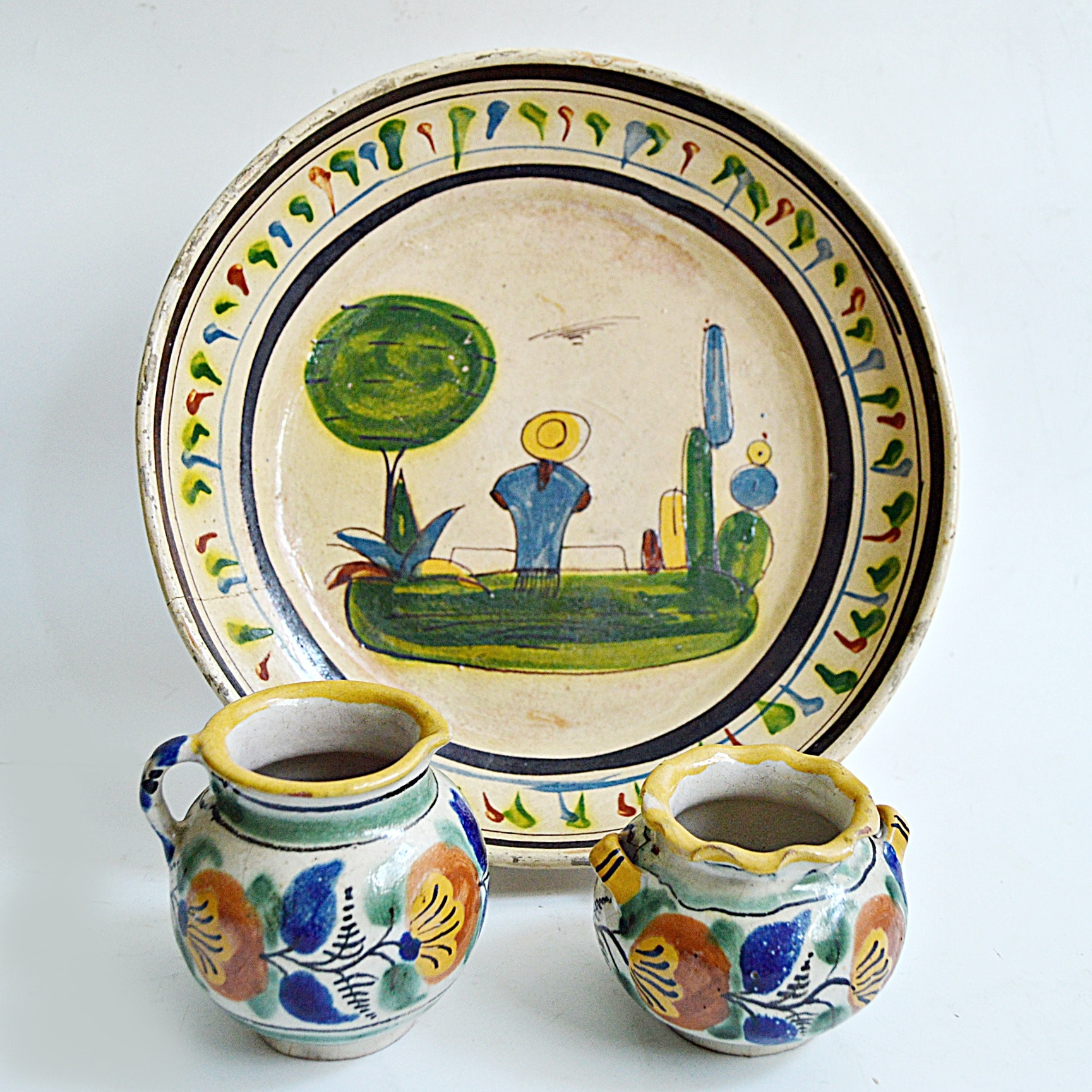 20th Century Mexican Hand Decorated Pottery