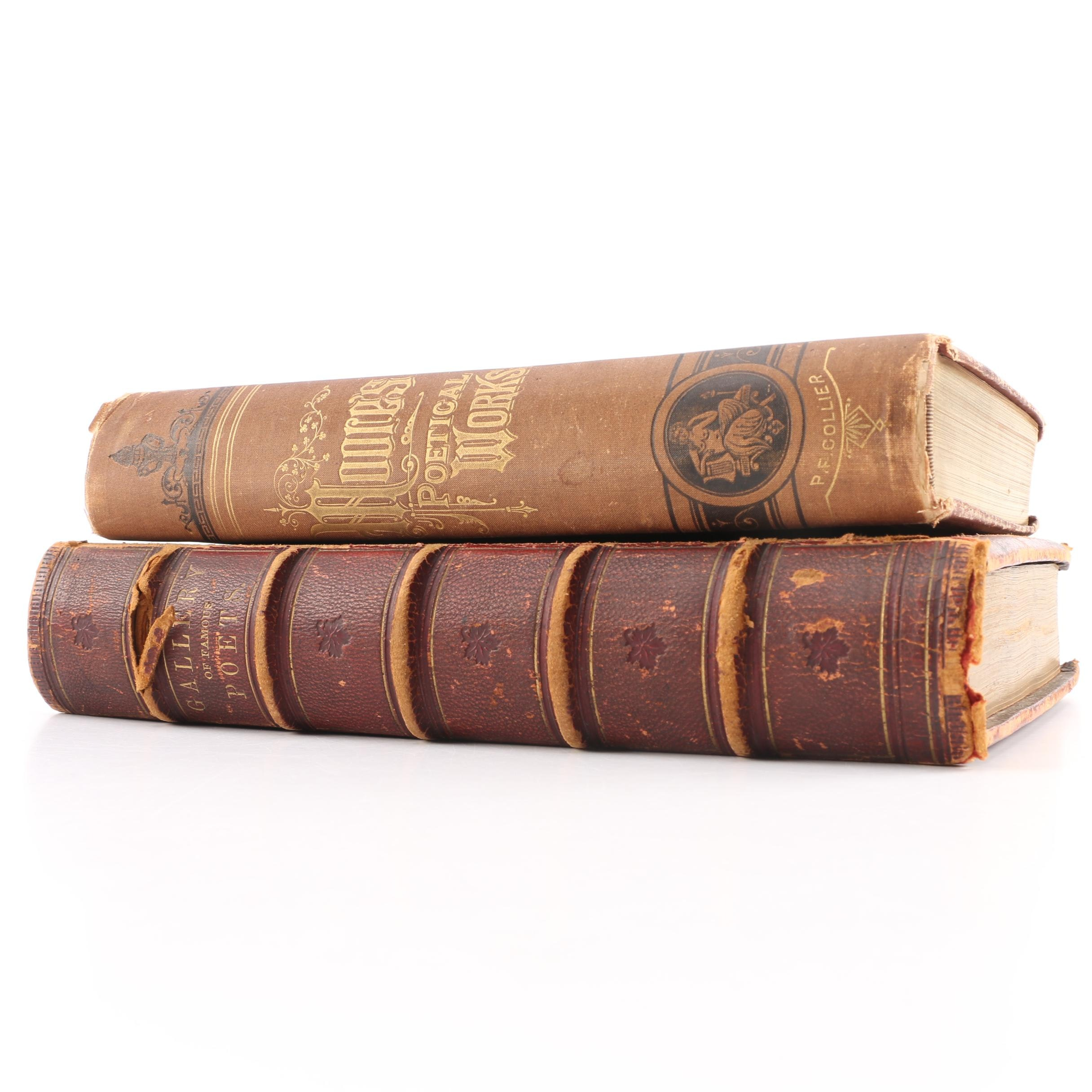 Antique Leather Bound Poetry Books