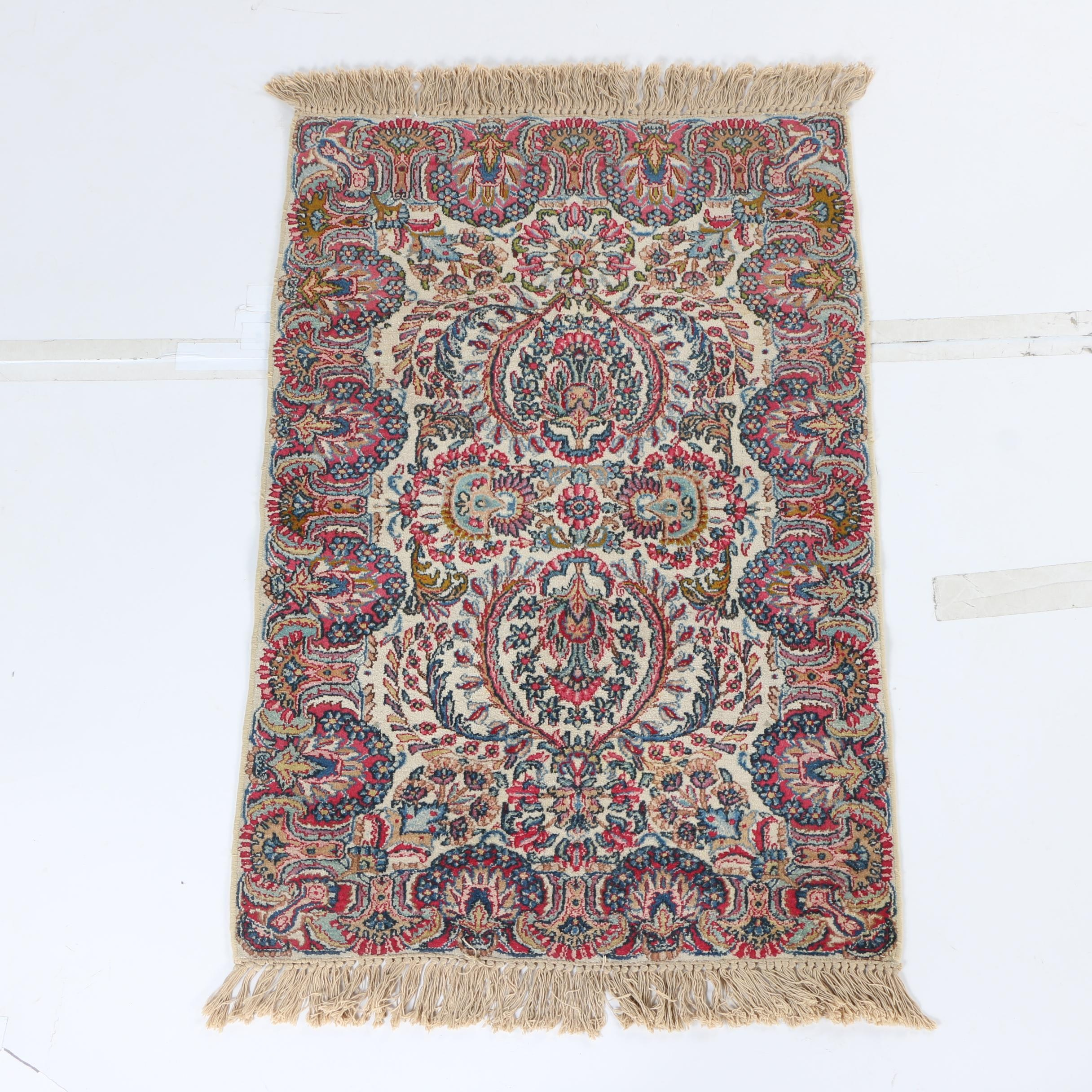 Hand-Knotted Persian Lavar Kerman Area Rug