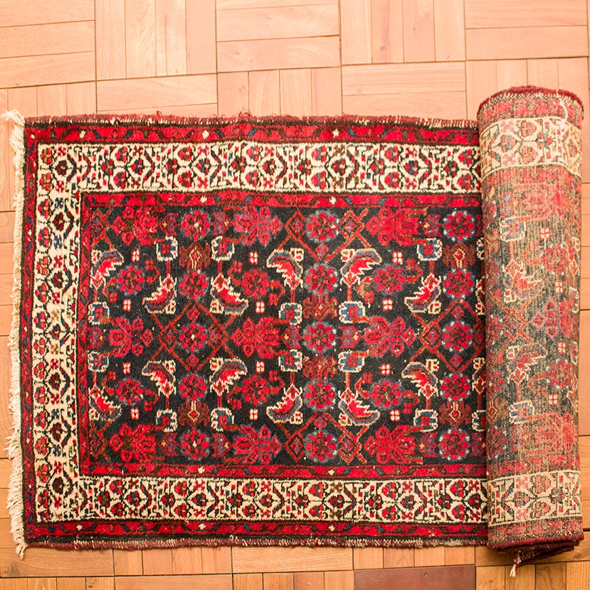 Semi-Antique Hand-Knotted Kurdish Runner