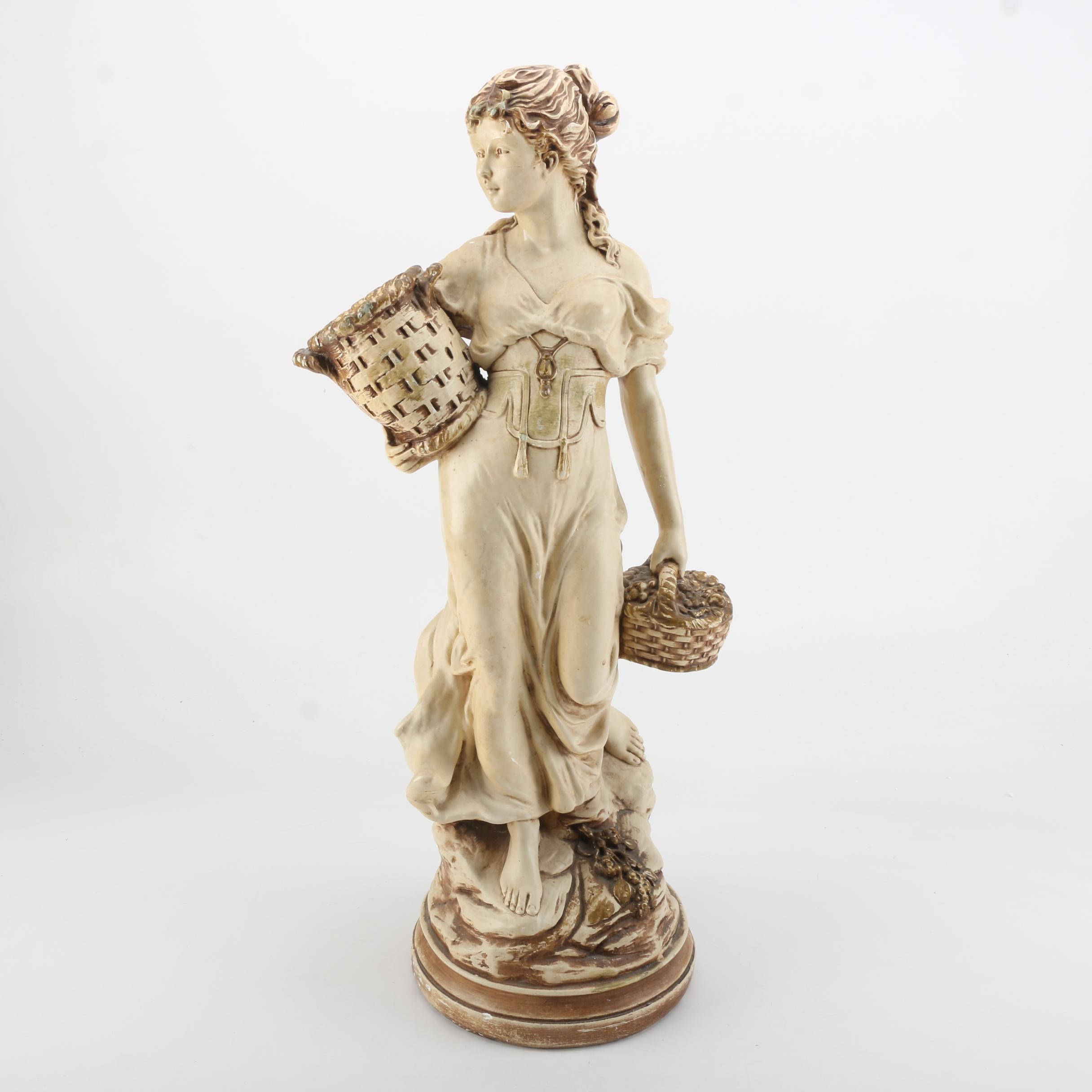 """Large Ceramic """"Girl With Baskets"""" Figurine"""