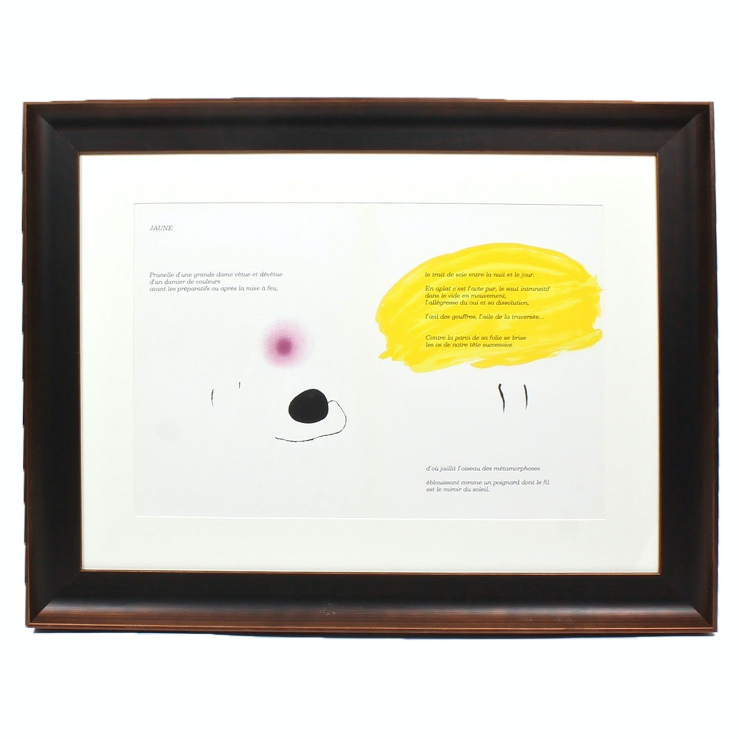 "Joan Miro Color Lithograph ""Jaune"" for ""Derriere le Miroir"""