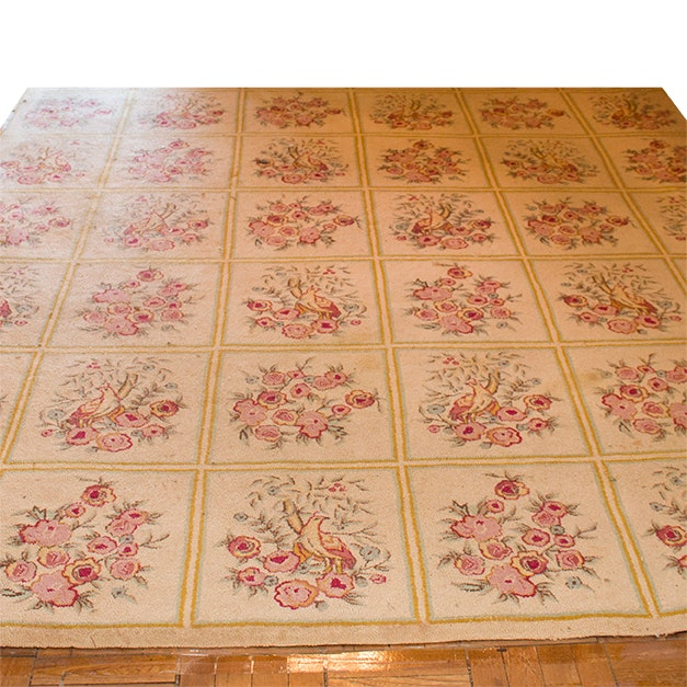 Hand Hooked French Floral Area Rug