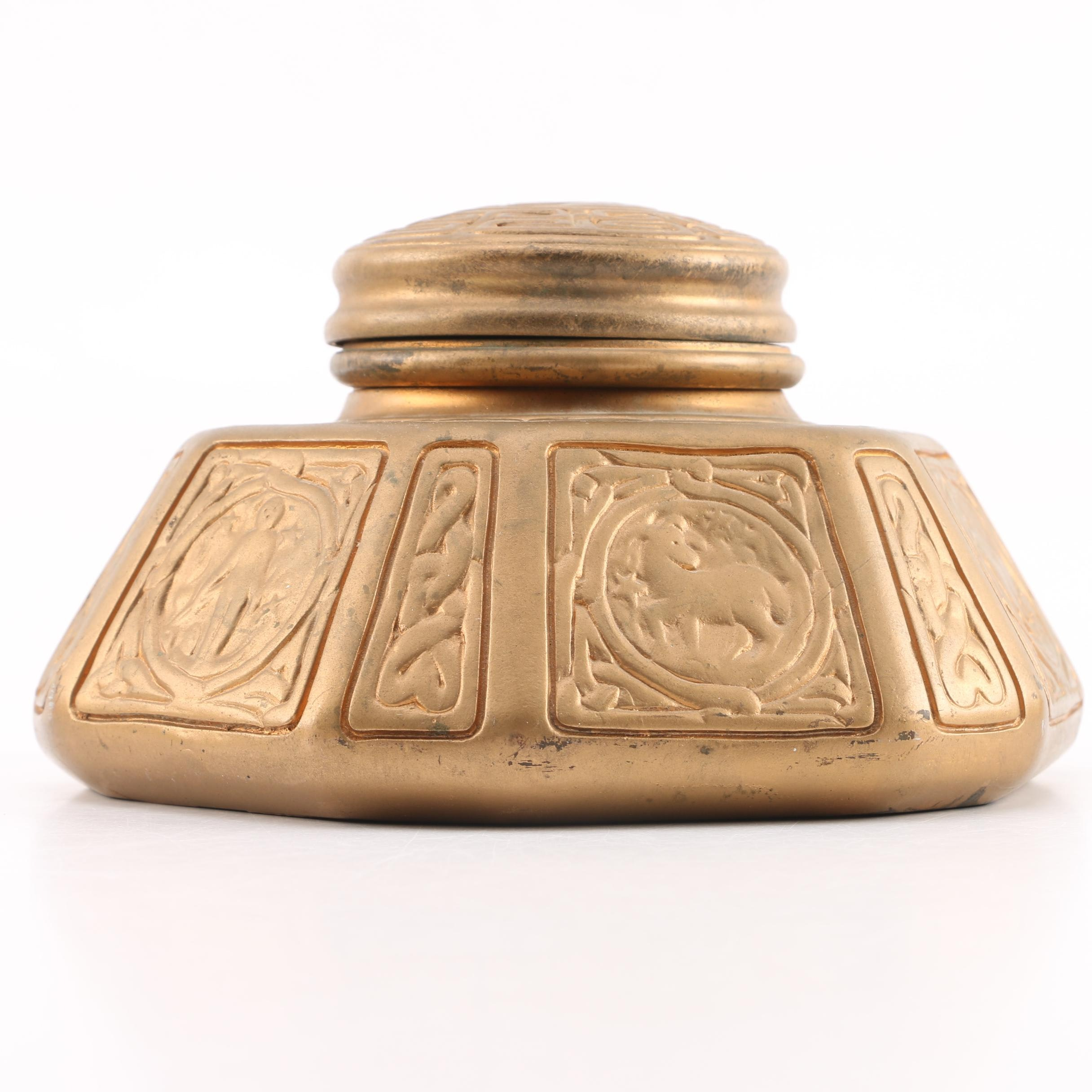 "Tiffany Studios Early 20th Century Patinated Bronze ""Zodiac"" Inkwell"