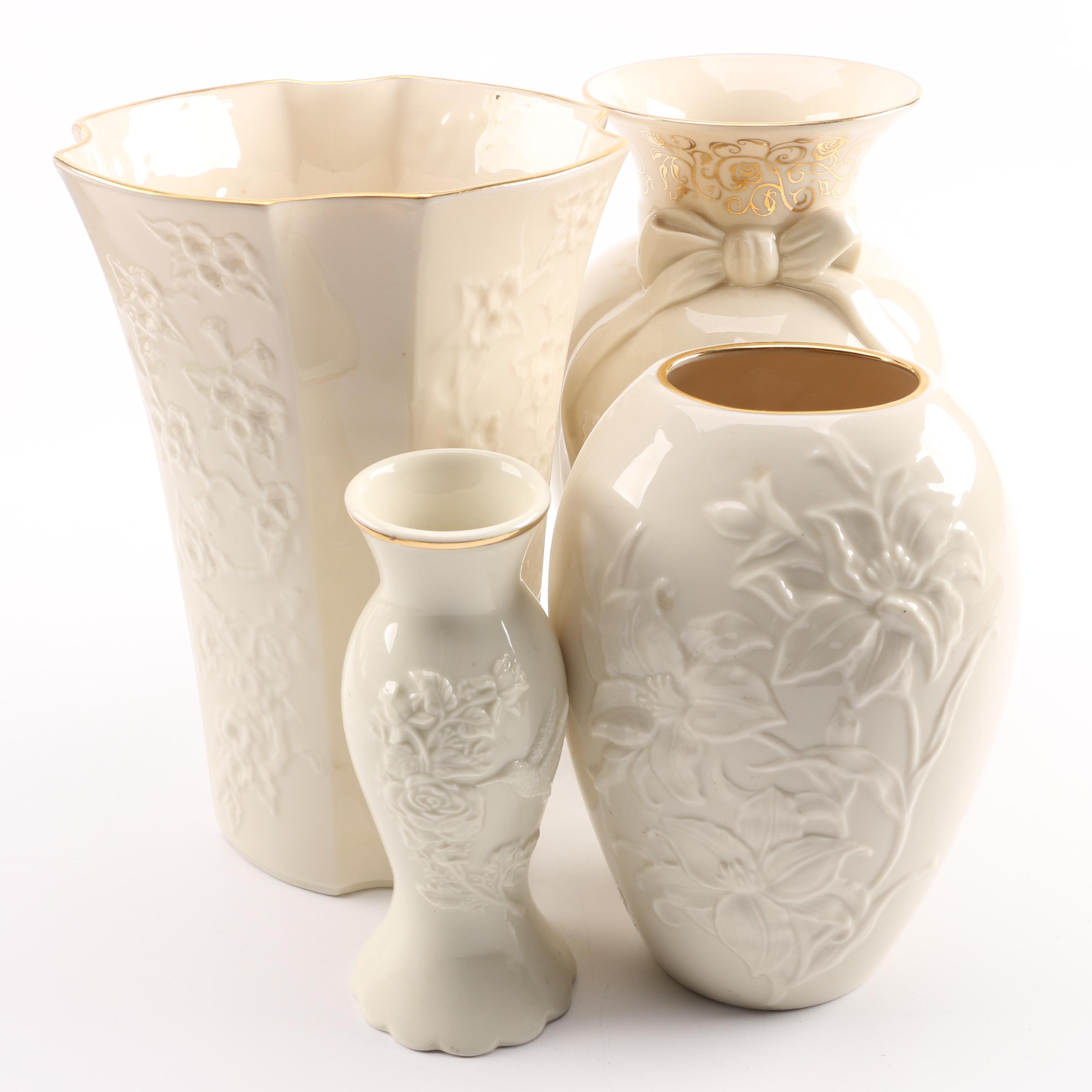 Lenox Embossed Porcelain Vases