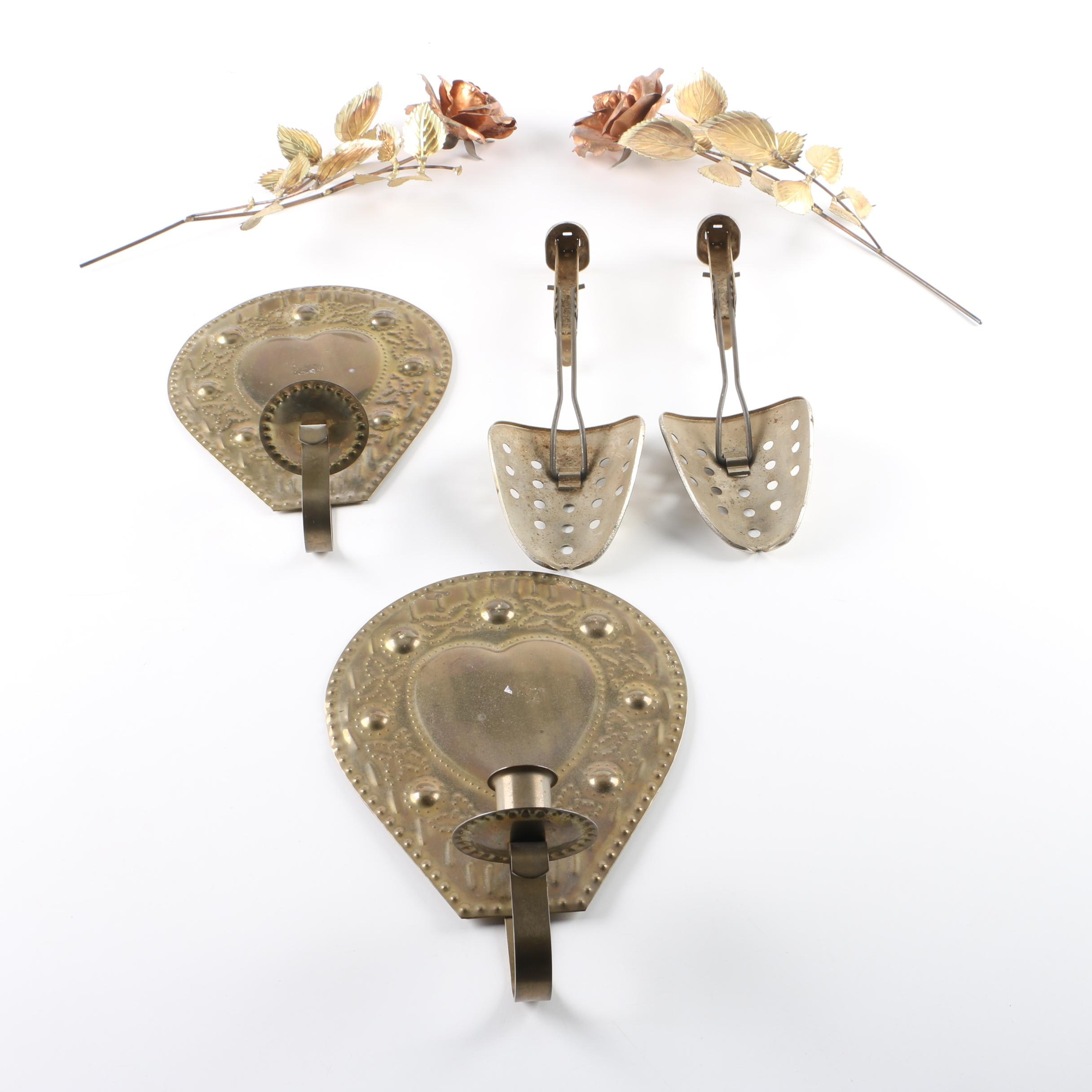 Wall Mount Style Metal Candle Holders and Floral Wall Hangings