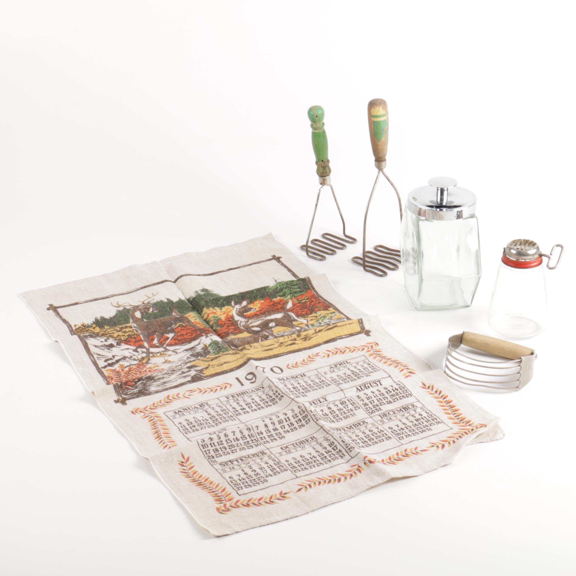 Vintage Kitchenware and Tea Towel