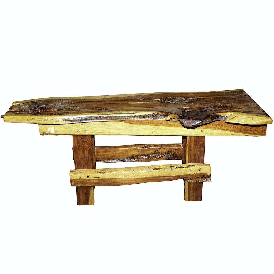 Handcrafted Rustic Cedar Plank Bench Ebth
