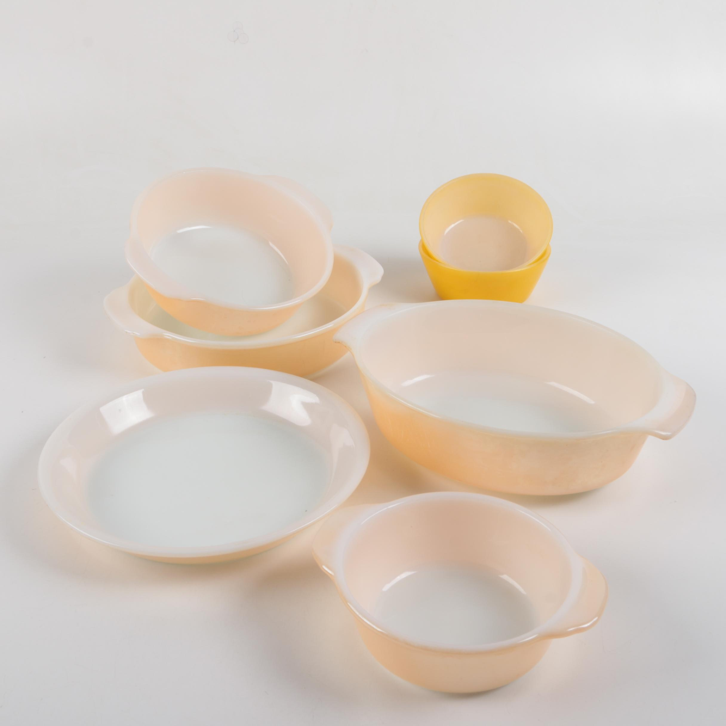 "Fire King ""Peach Lustre"" and Federal Glass Serveware"