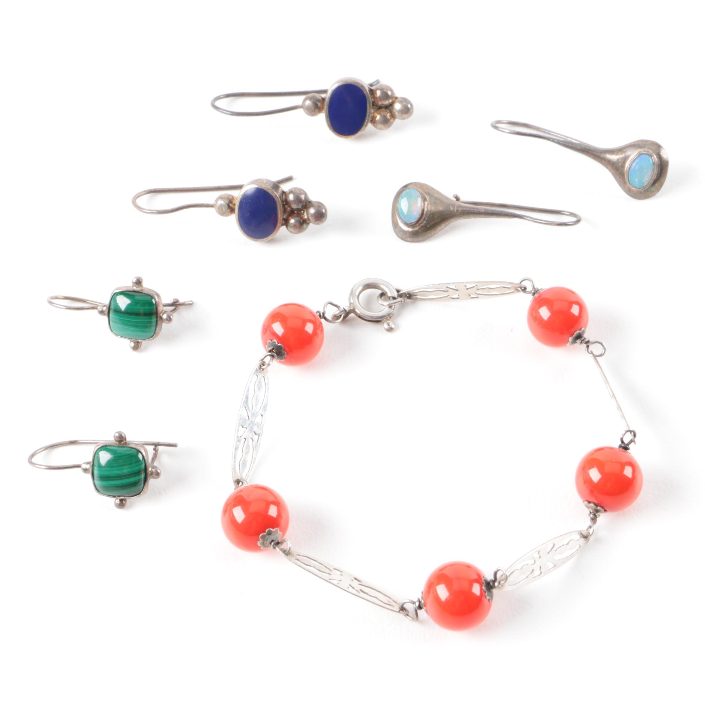 Sterling Silver Earrings and Bracelet Including Gemstones