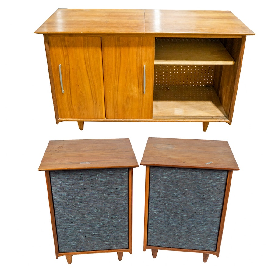 Mid Century Modern Stereo Cabinet With Fisher Speakers