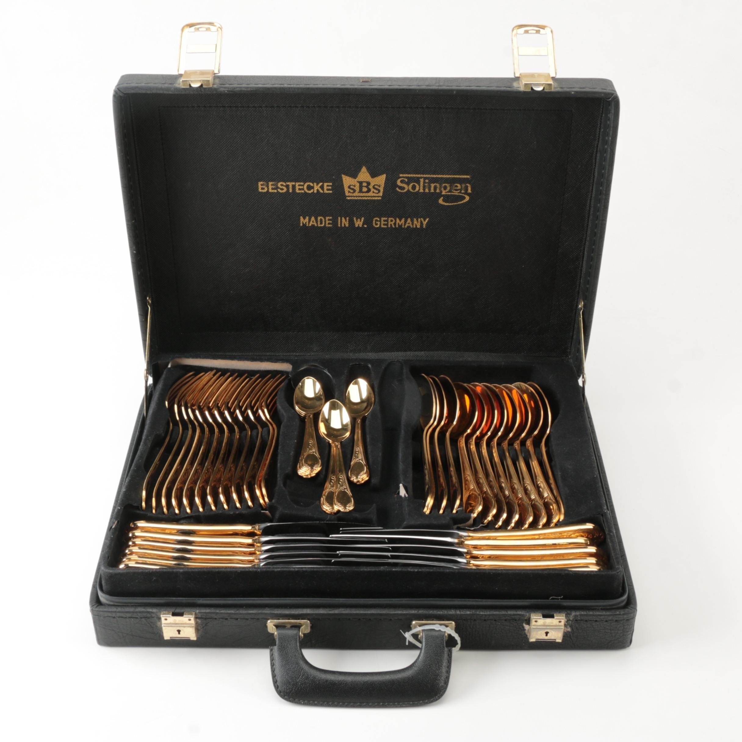 SBS Bestecke Solingen  Wein  Gold-Plated Stainless Flatware Set ...  sc 1 st  EBTH.com & SBS Bestecke Solingen