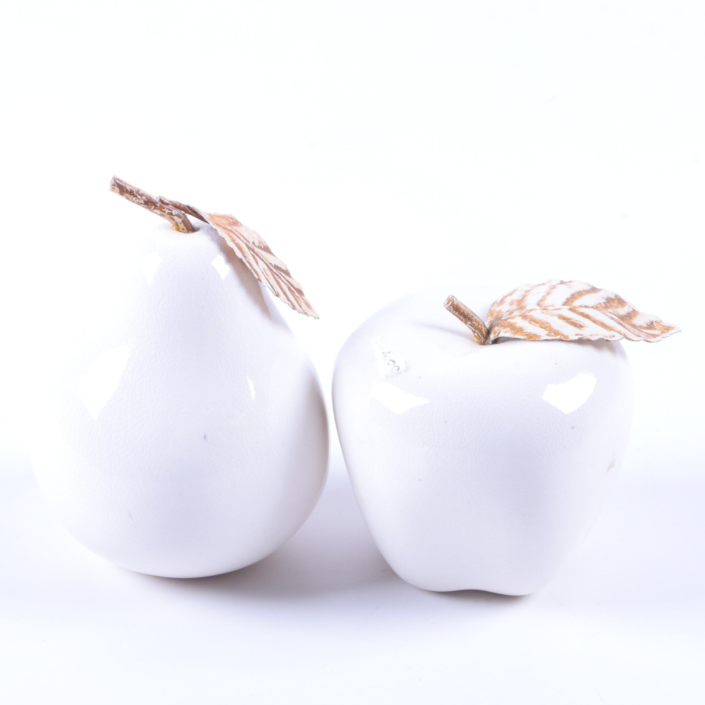 White Ceramic Apple and Pear Figurines with Gold Tone Stems and Leaves