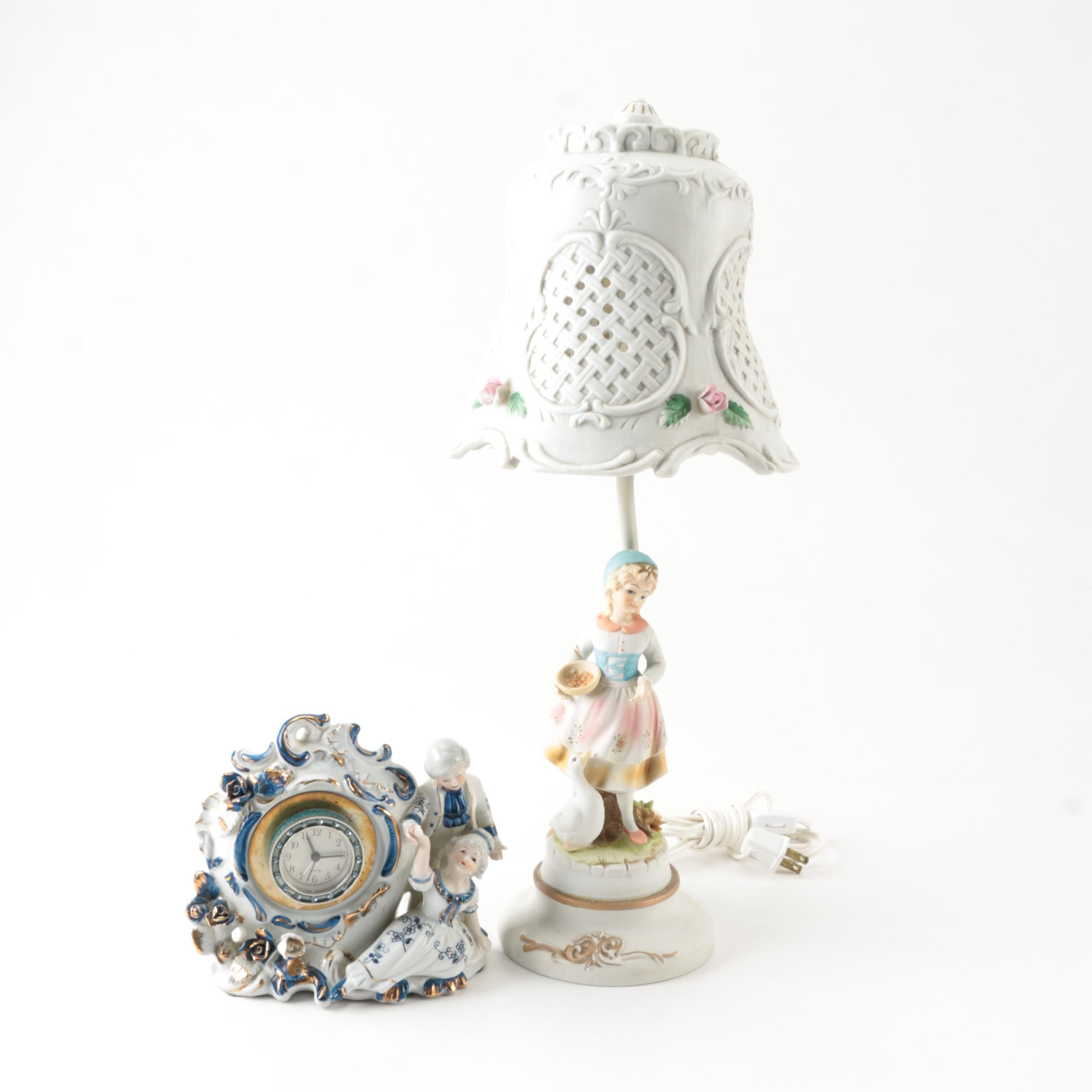 Dresden Style Porcelain Table Lamp and Clock