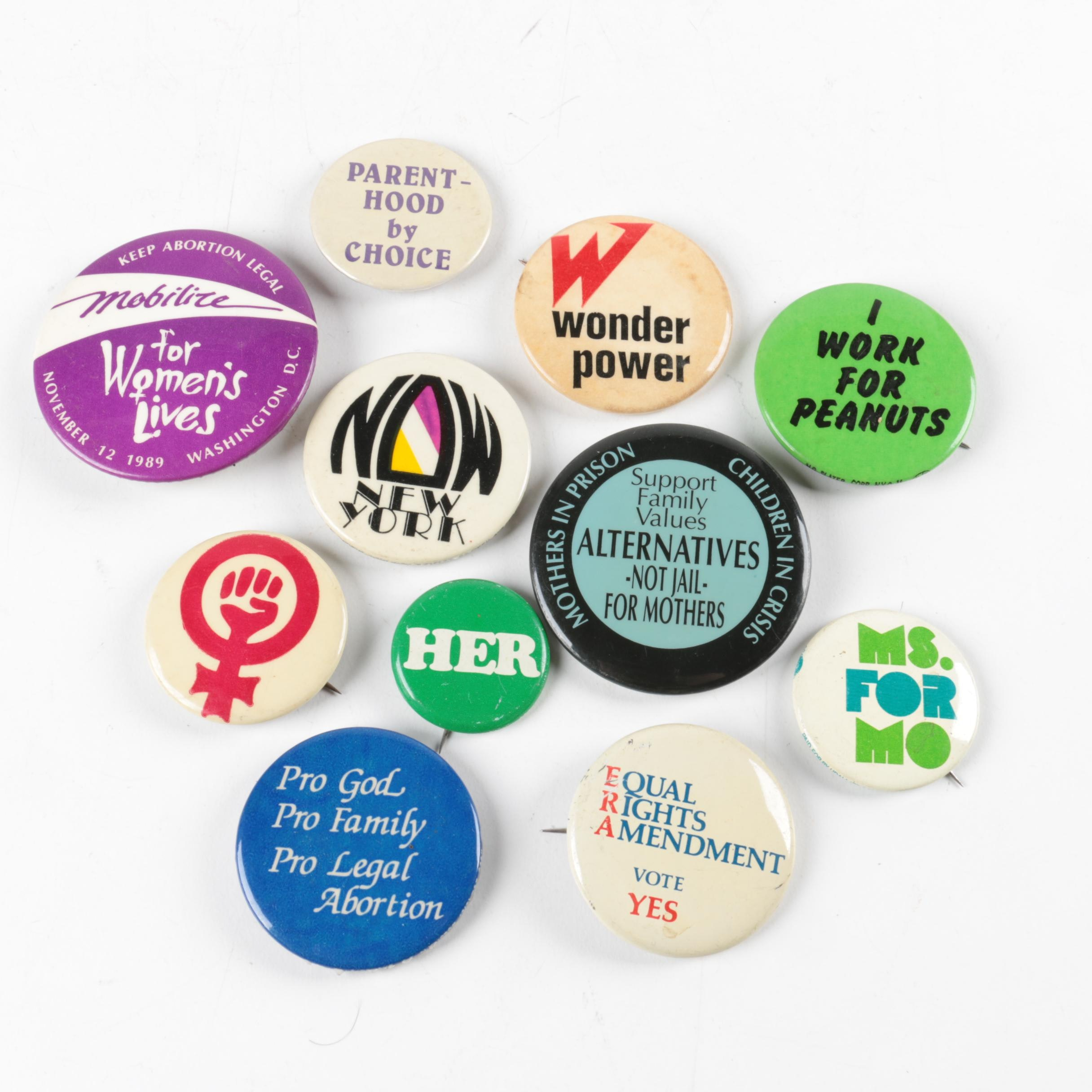Political Pins Featuring Women's Rights