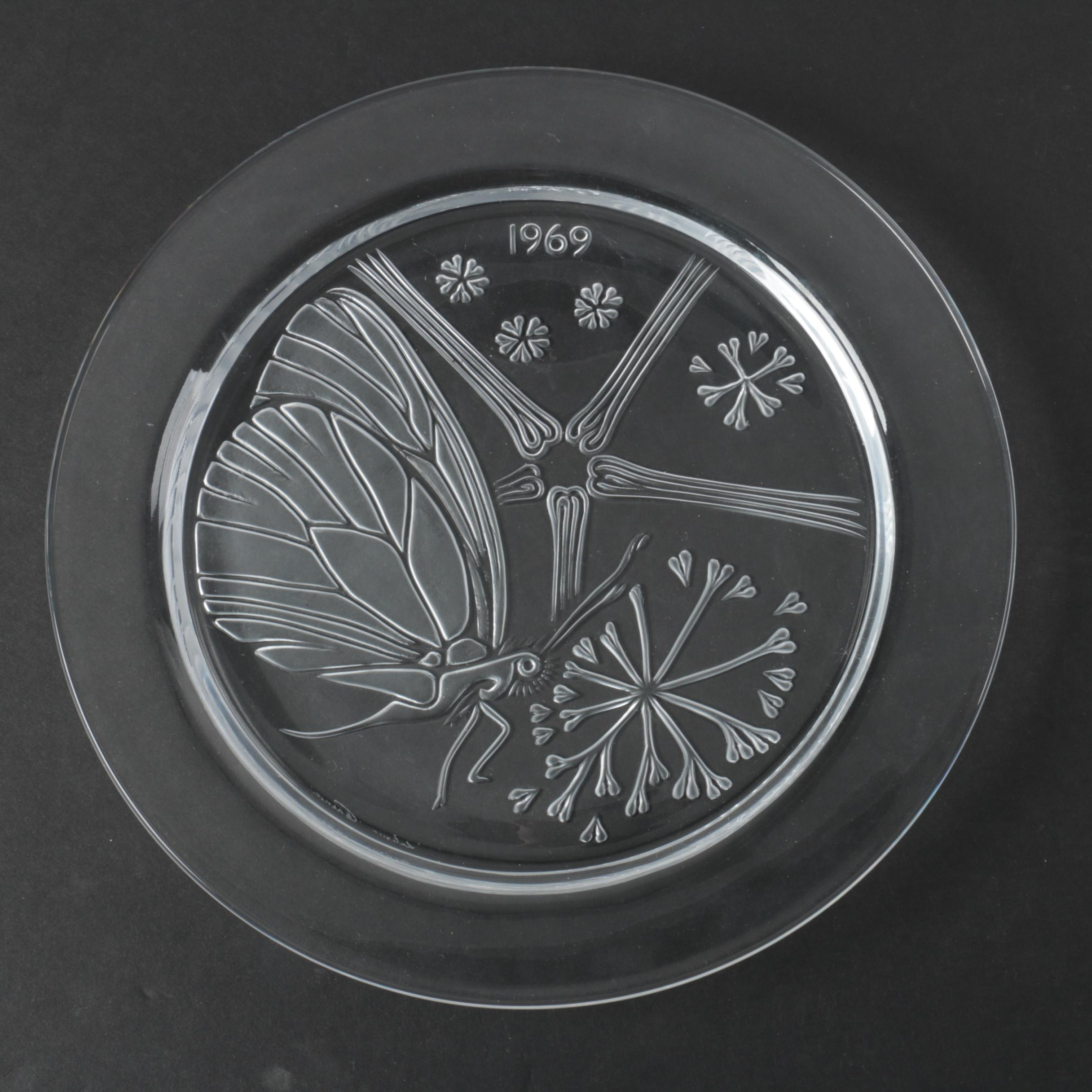 "1969 Lalique Annual Crystal Plate ""Papillon"""