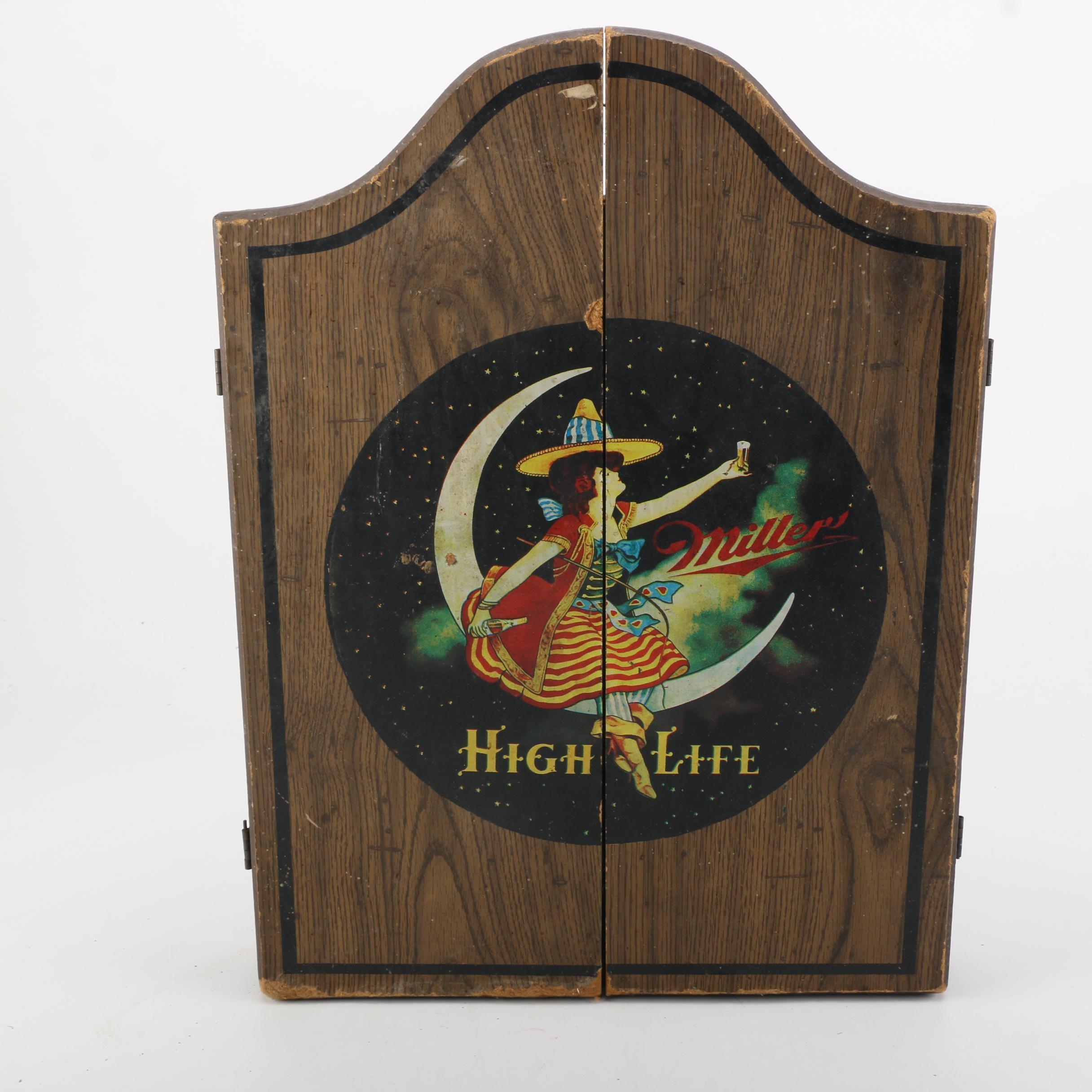 Vintage Miller High Life Dartboard Wall Cabinet
