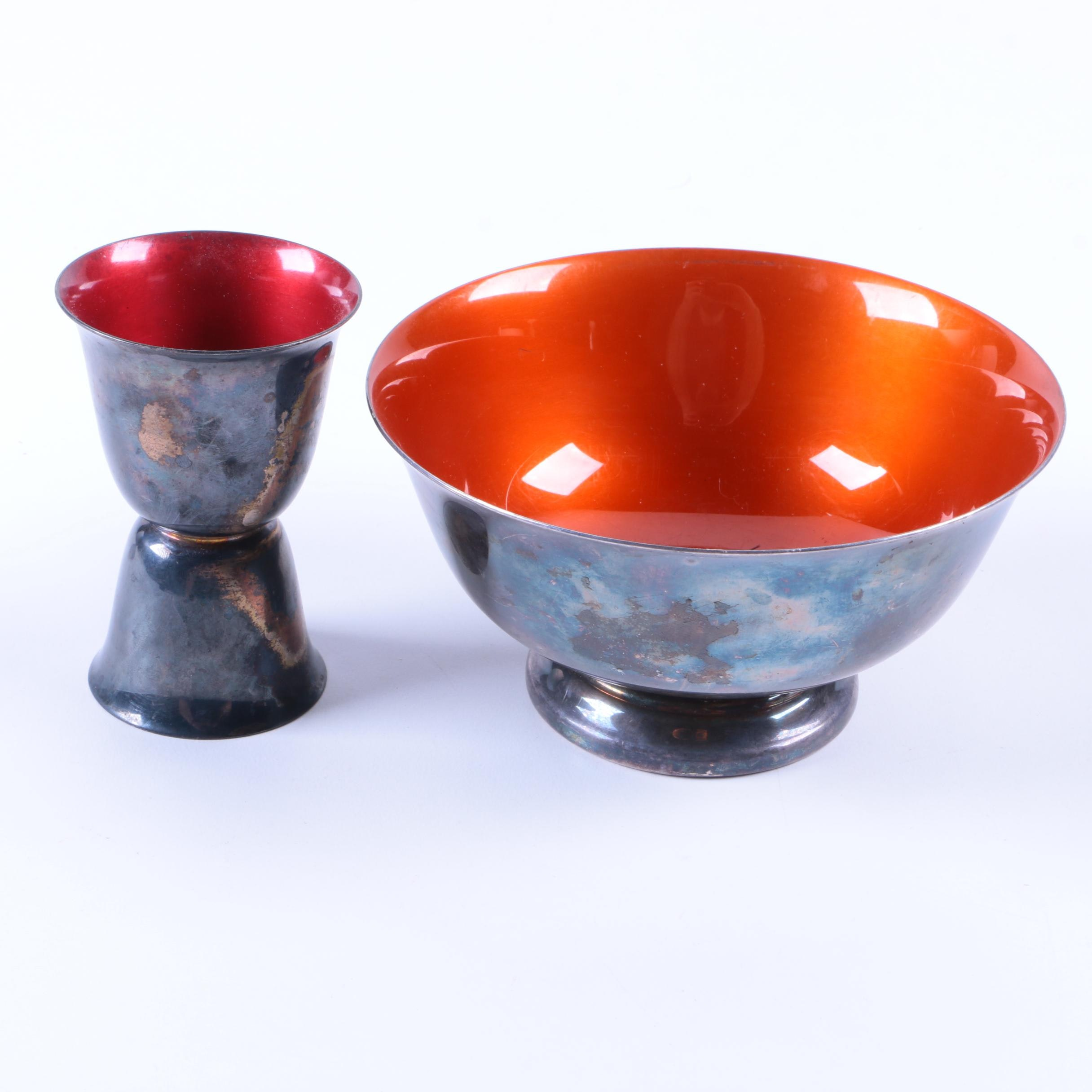 Reed & Barton Silver-Plated Jigger and Bowl with Enameled Interiors