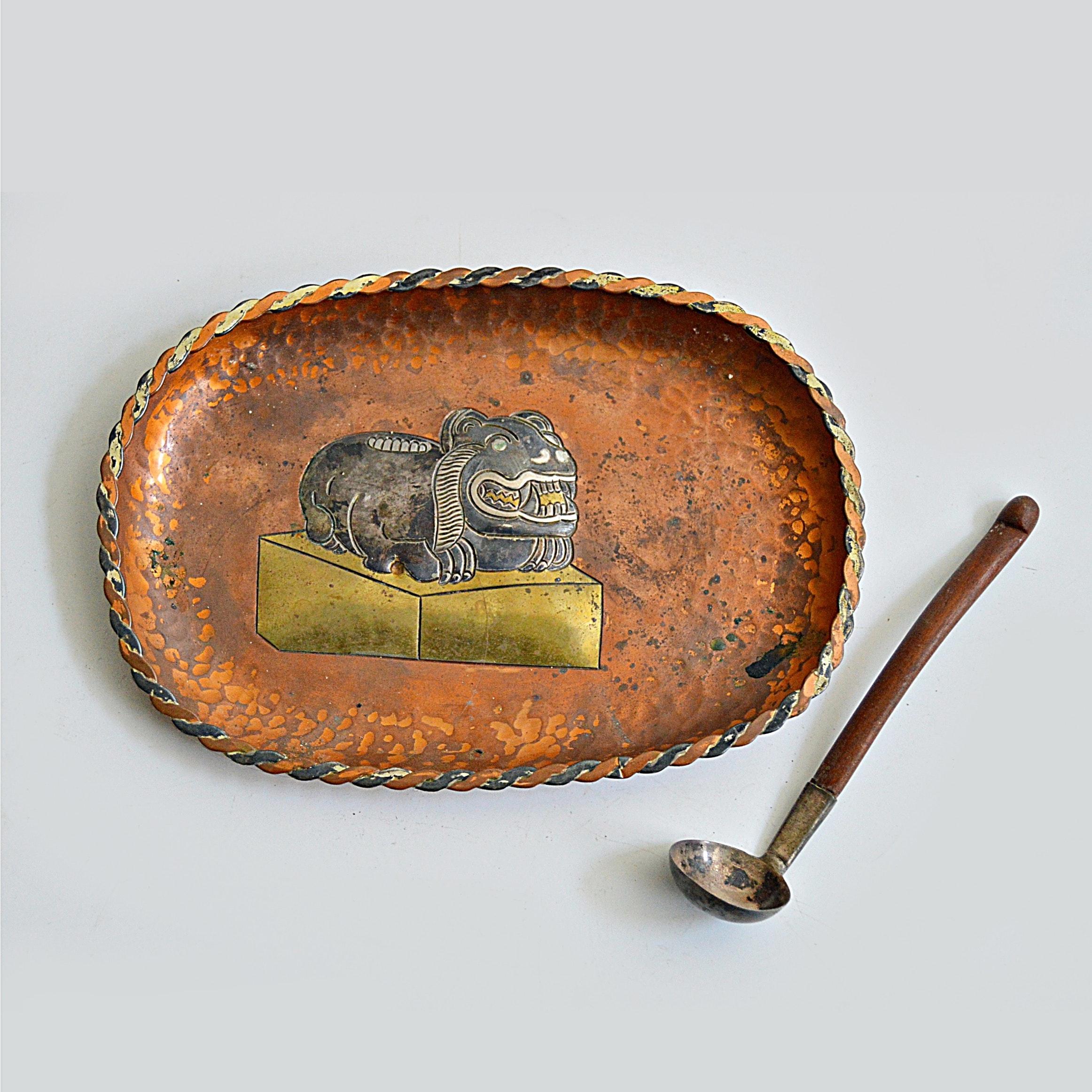 Taxco Victoria by Ana Nunez Brilanti Metales Casados Copper Tray with Spoon