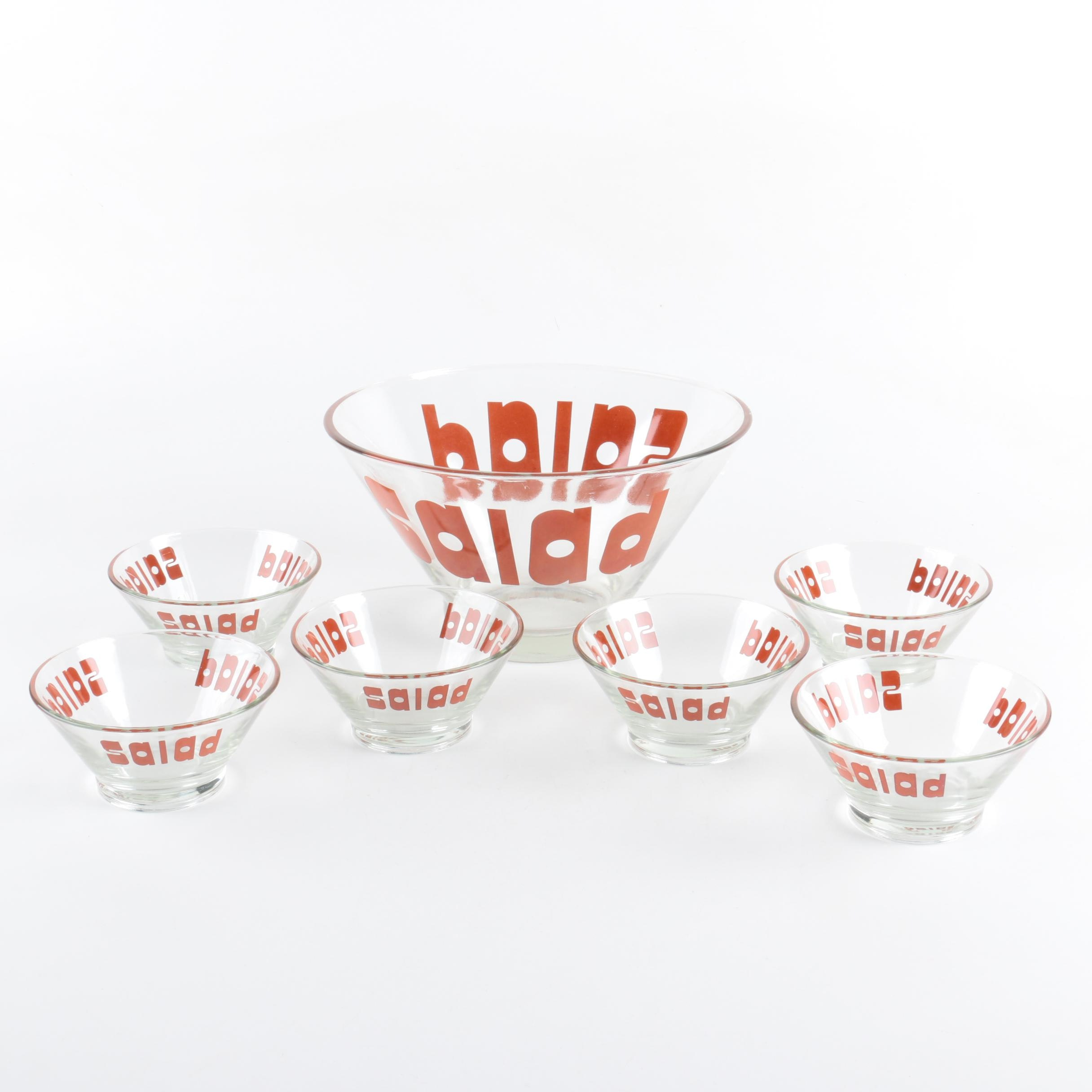 "Vintage Typography Glass ""Salad"" Set"