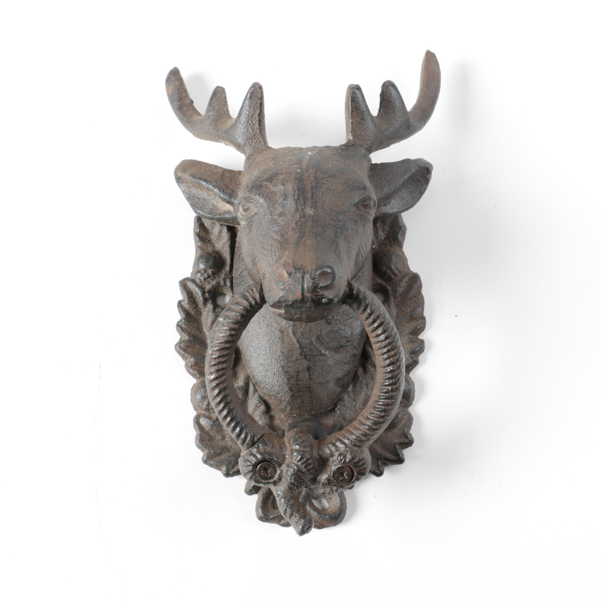 Cast Iron Figural Stag Head Door Knocker