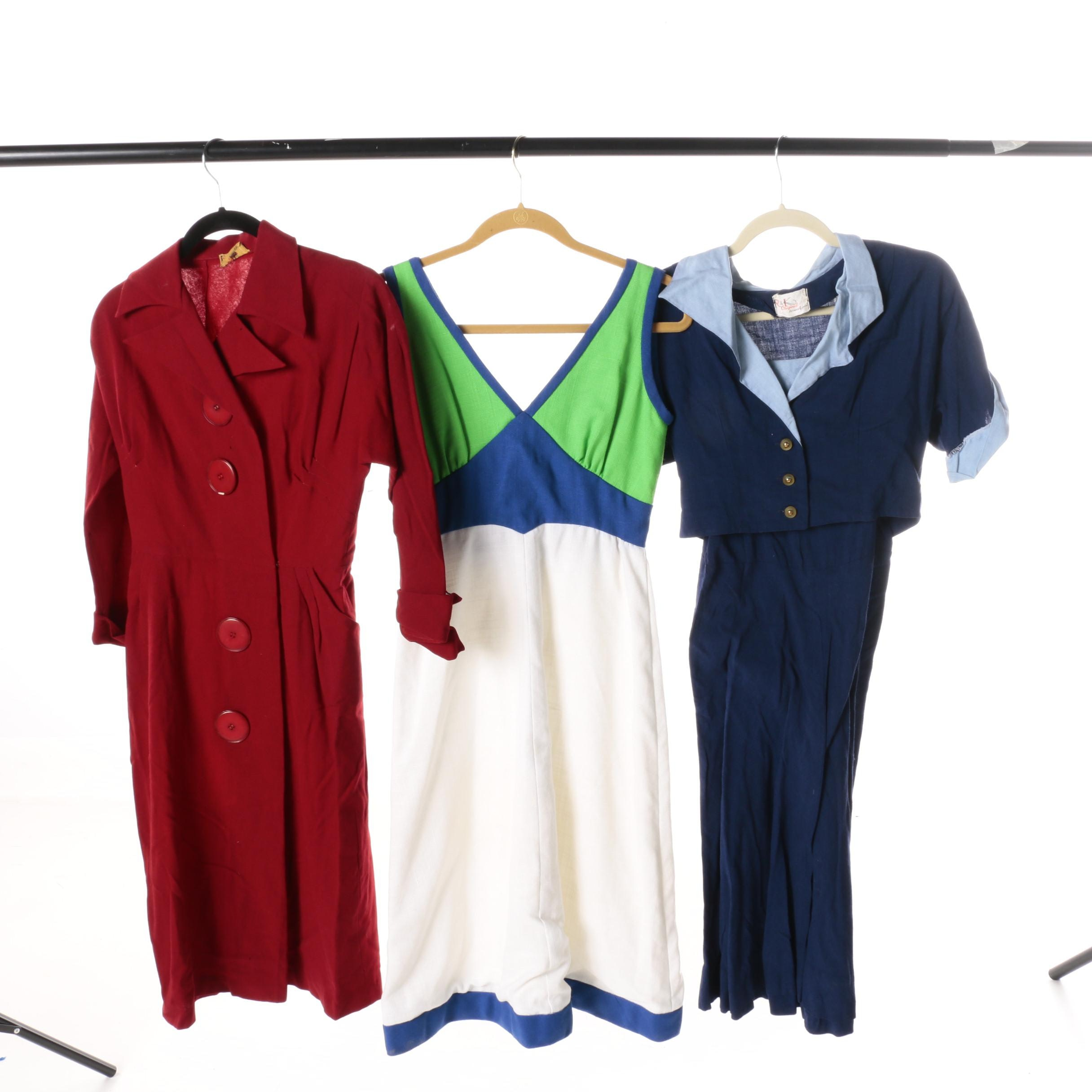 Women's Vintage Solid and Color Block Dresses
