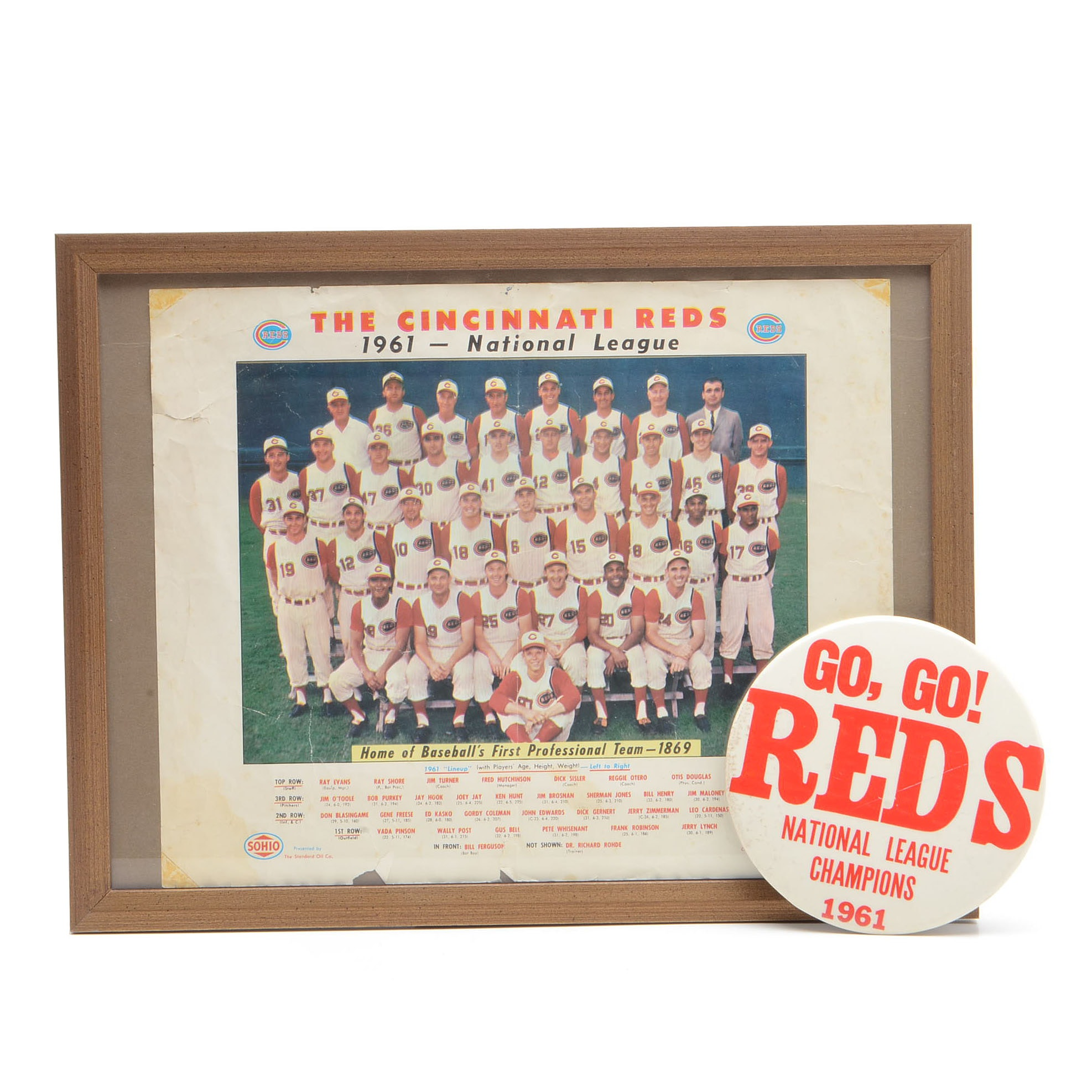 "1961 Reds Sohio Team Photo and ""Go Go Reds"" NL Champs Large Pin"
