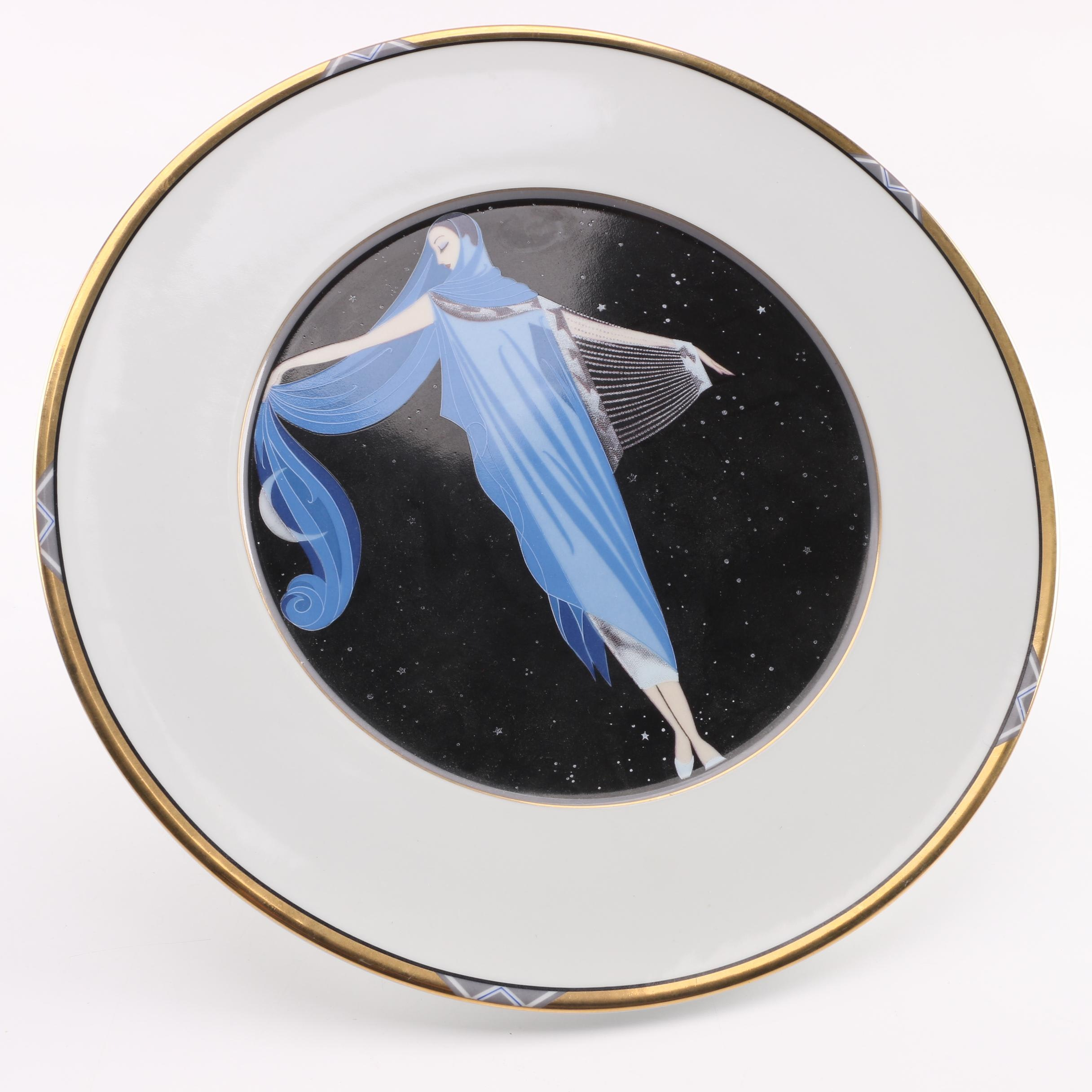 "Erté German China Sevenarts ""Moonshine"" Plate"