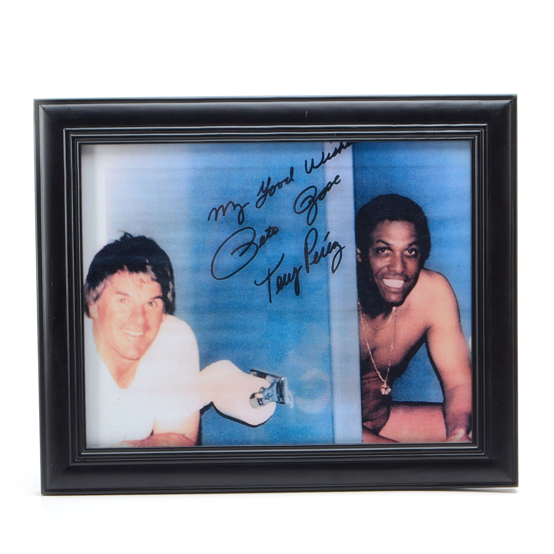 """Rose and Perez Autographed """"Sitting On The Throne"""" Framed Display"""
