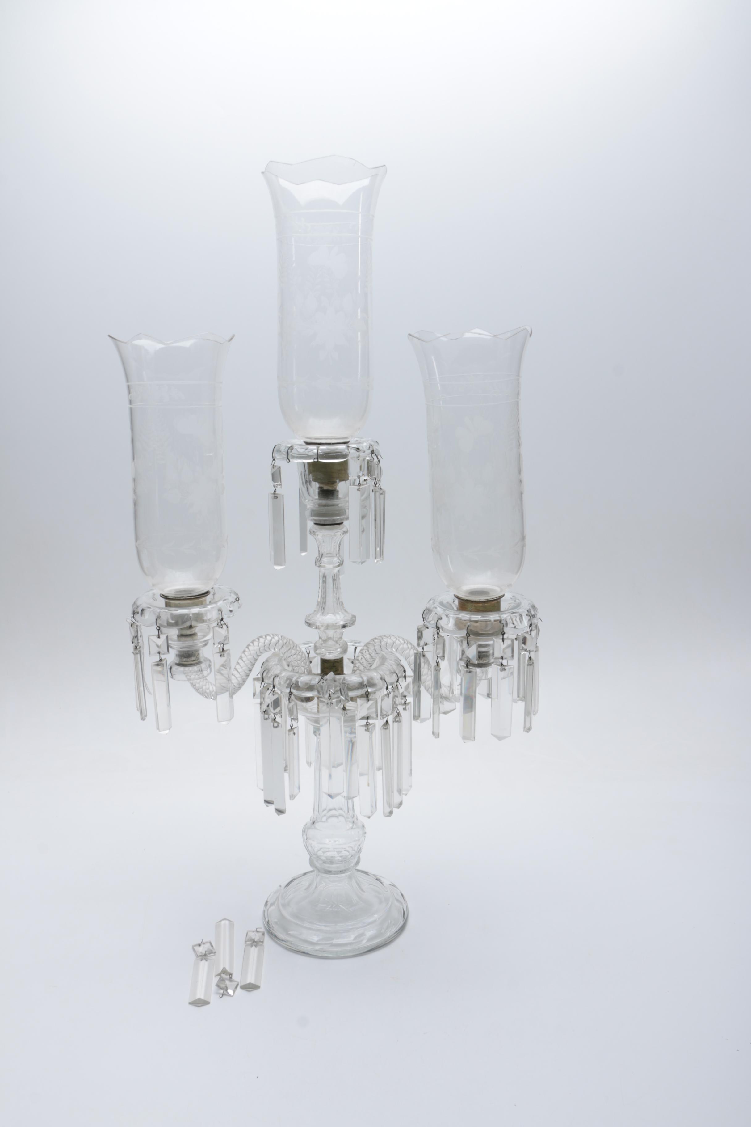 Vintage Glass Candelabra With Prisms