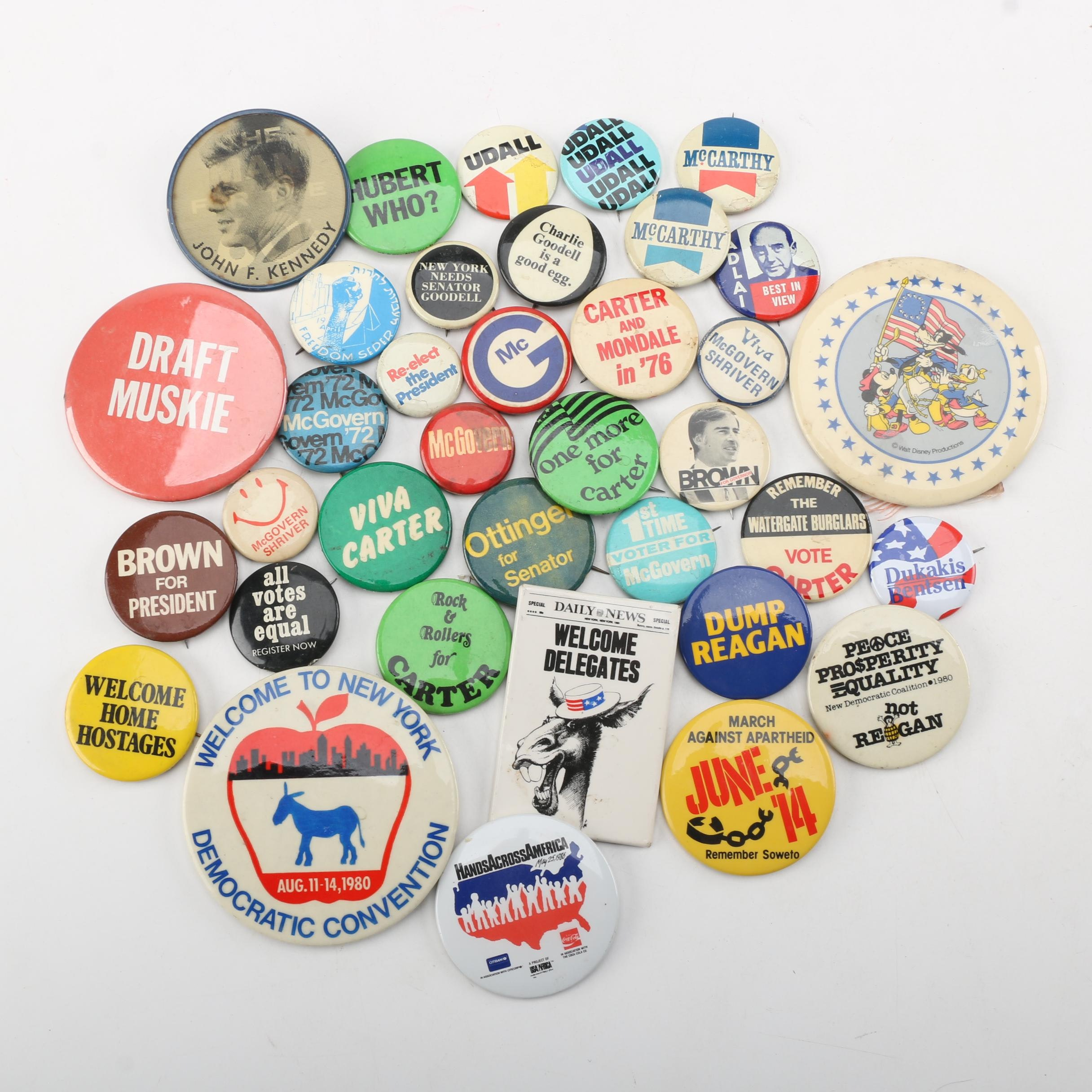 Vintage Disney And Political Pinback Buttons Including Holographic Kennedy