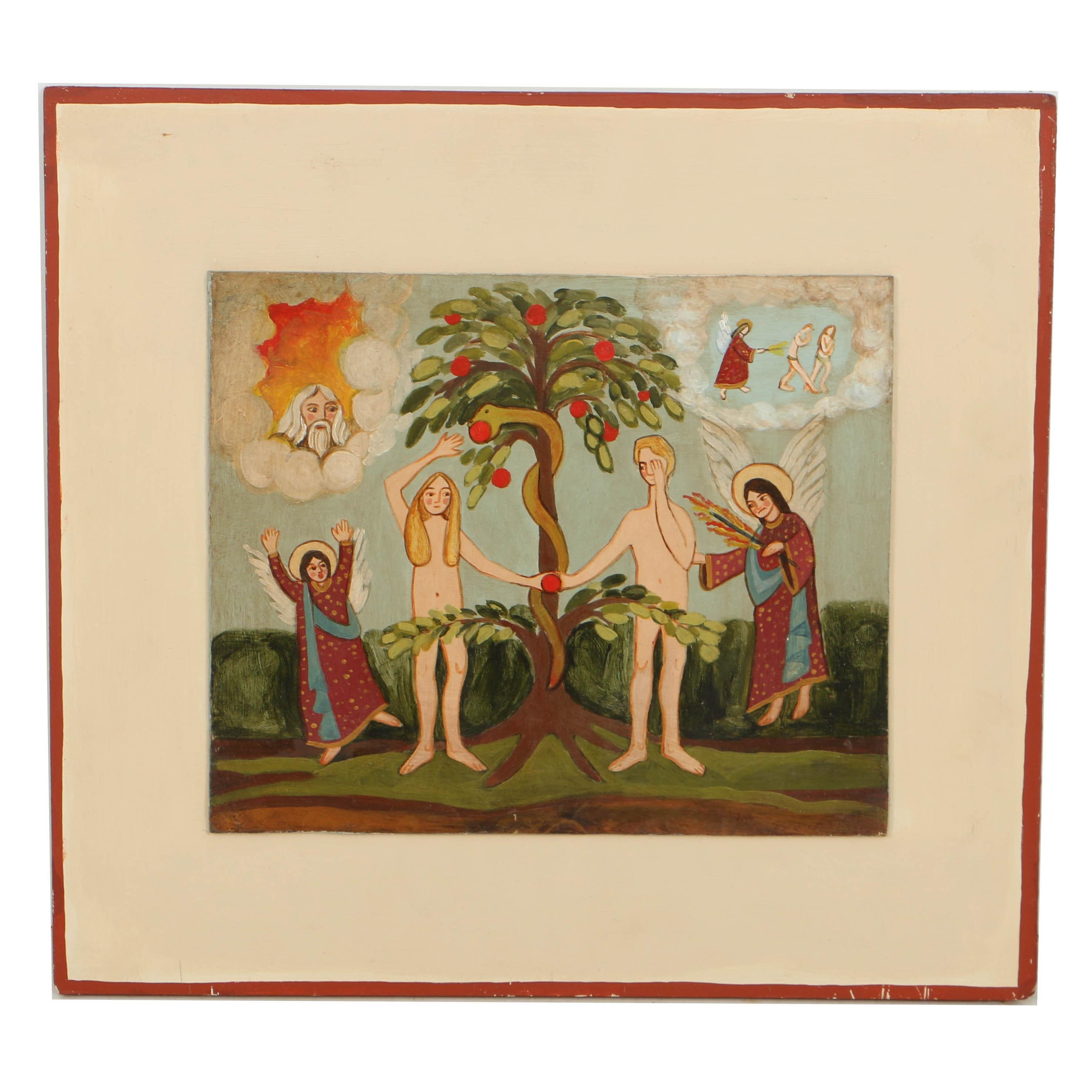 Vintage Folk Art Oil Painting on Wood Panel of the Fall of Man