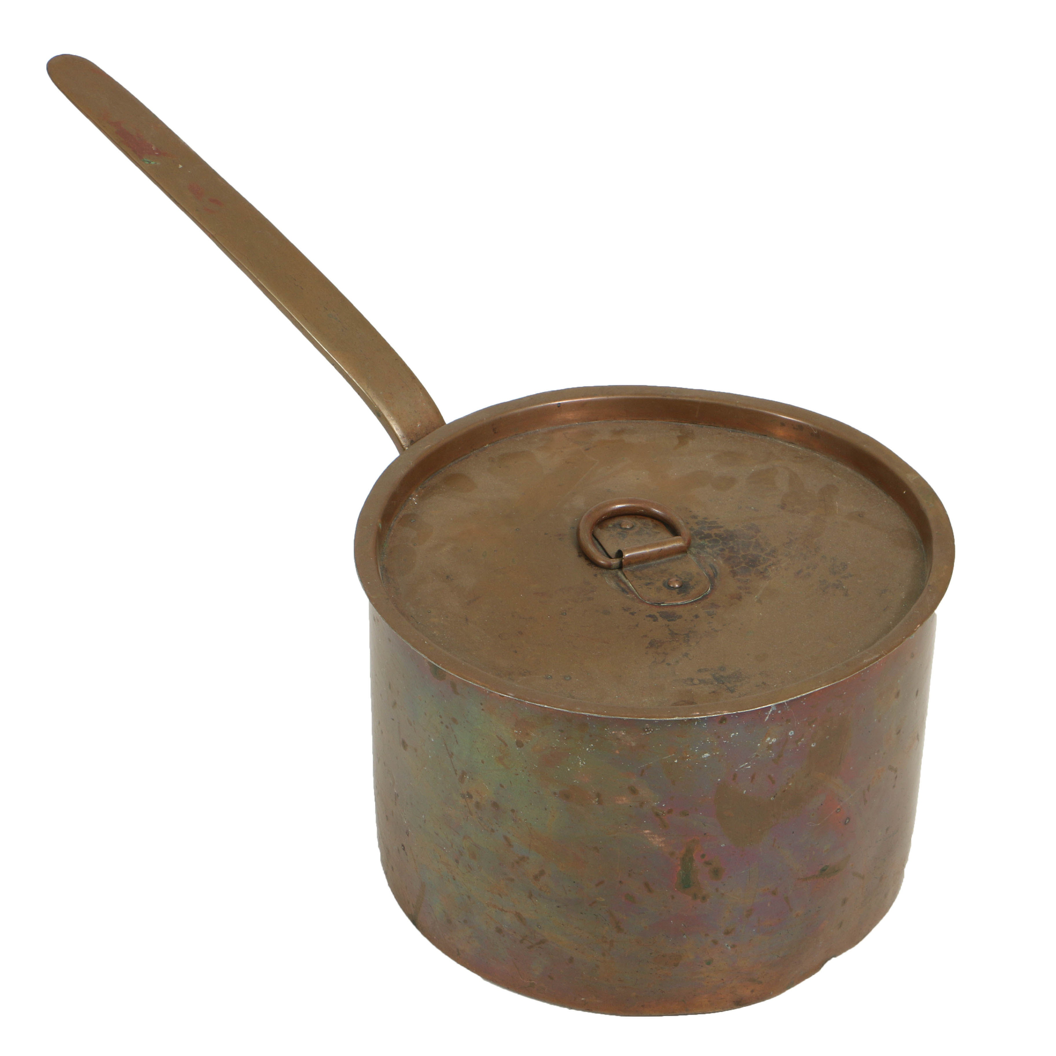 Large Antique Copper Pan With Lid