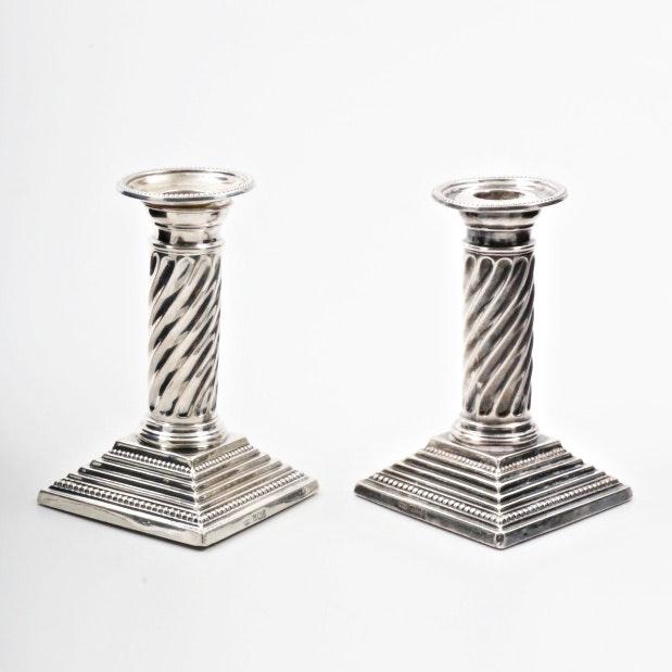 Pair of Circa 1901 Sheffield Sterling Silver Spiraled Column Candlesticks