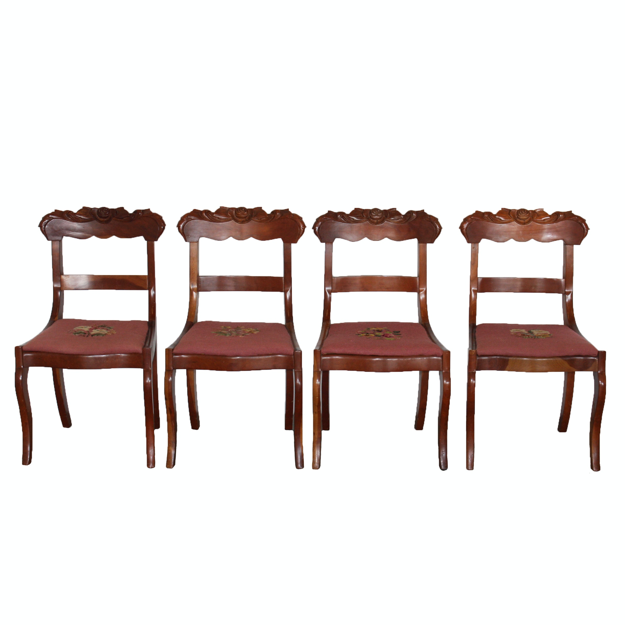 Four Vintage Victorian Style Cherry Side Chairs with Needlepoint Seats