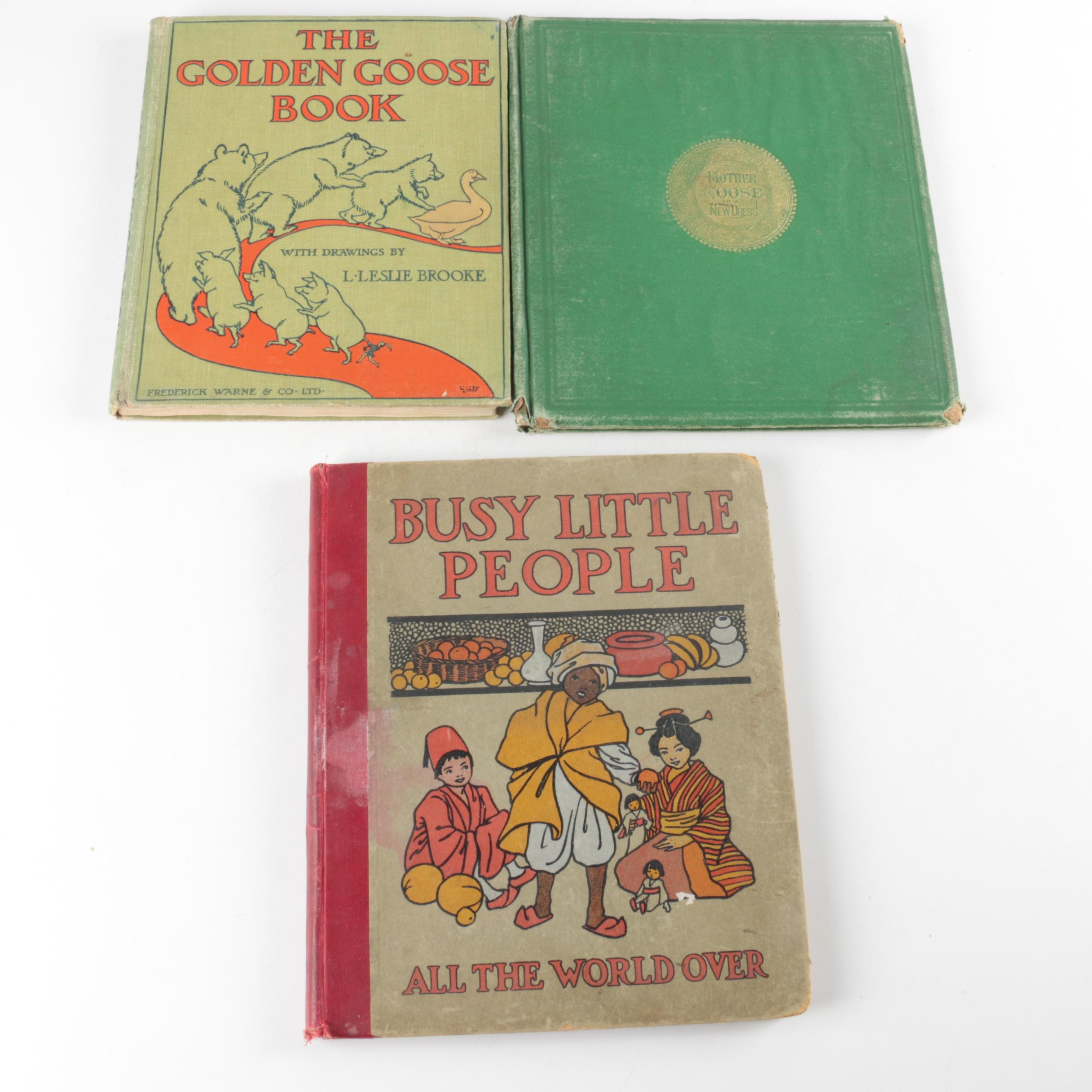 "Vintage Children's Books Including ""Busy Little People All The World-Over"""