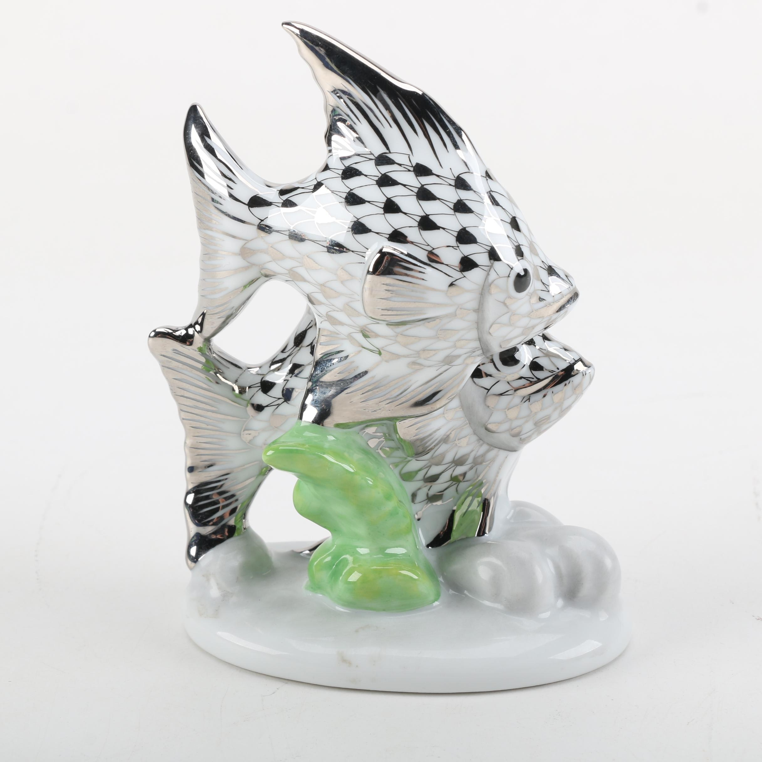Herend Handmade and Hand-Painted Silver Tone Porcelain Pair of Fish Figurine