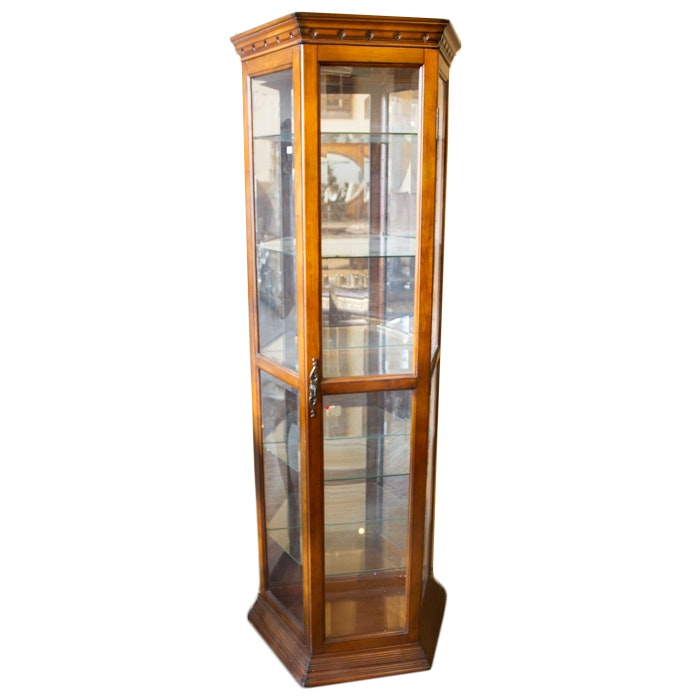 Isosceles Trapezoid Curio Cabinet With Glass Shelves ...