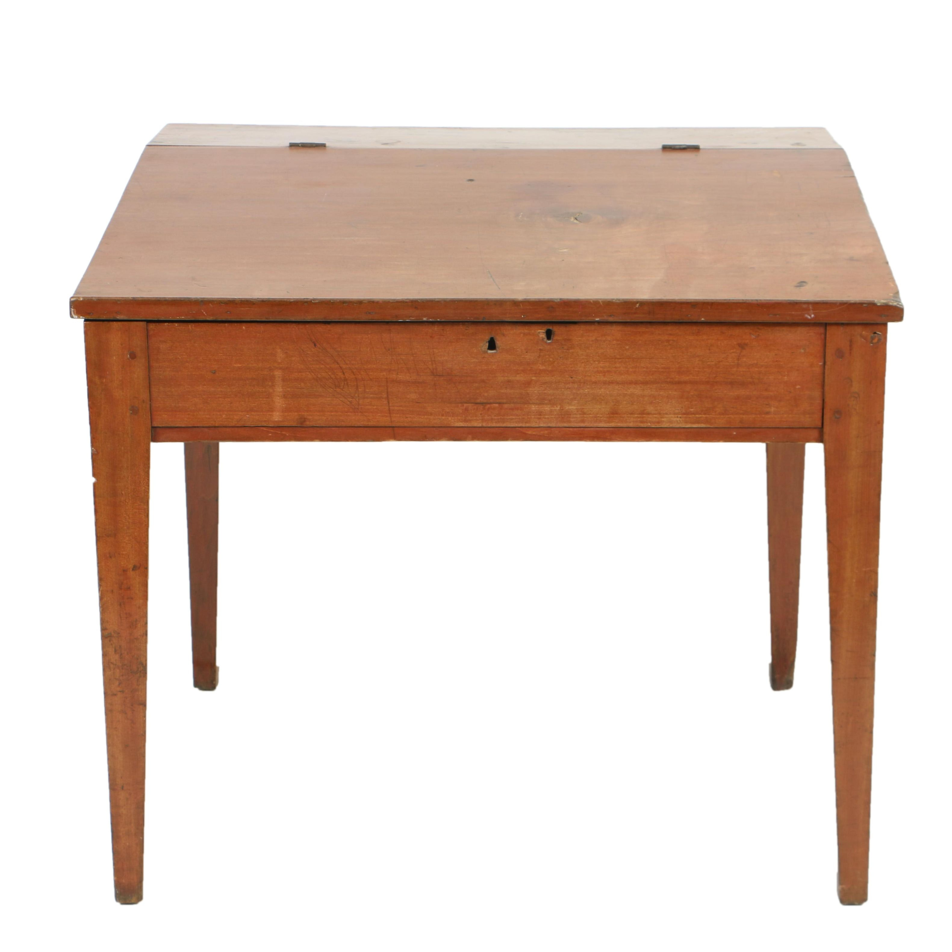 Antique Poplar Schoolmaster's Desk, Circa Second Quarter 19th Century