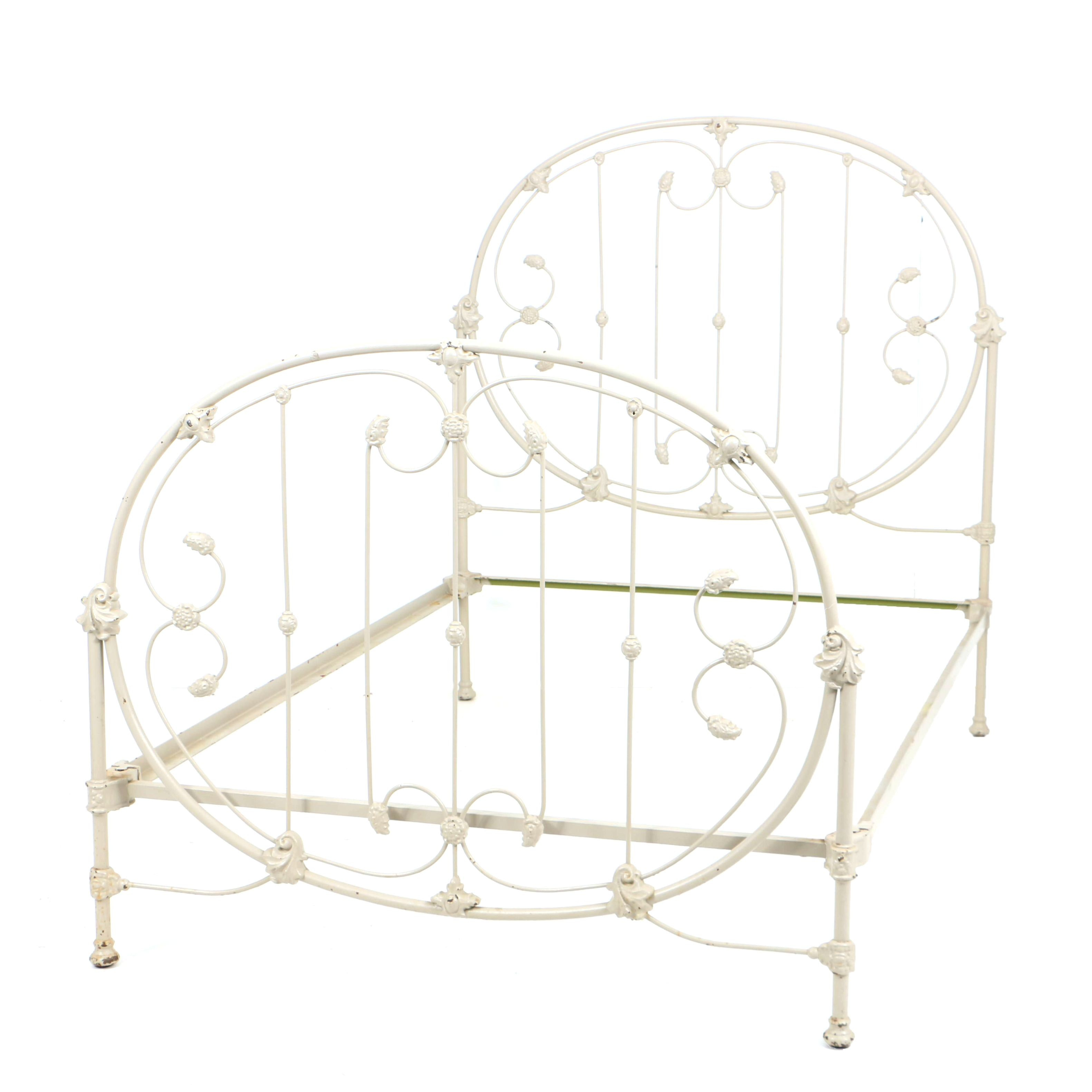 Antique Late Victorian Cast Iron Bed Frame, Circa 1900