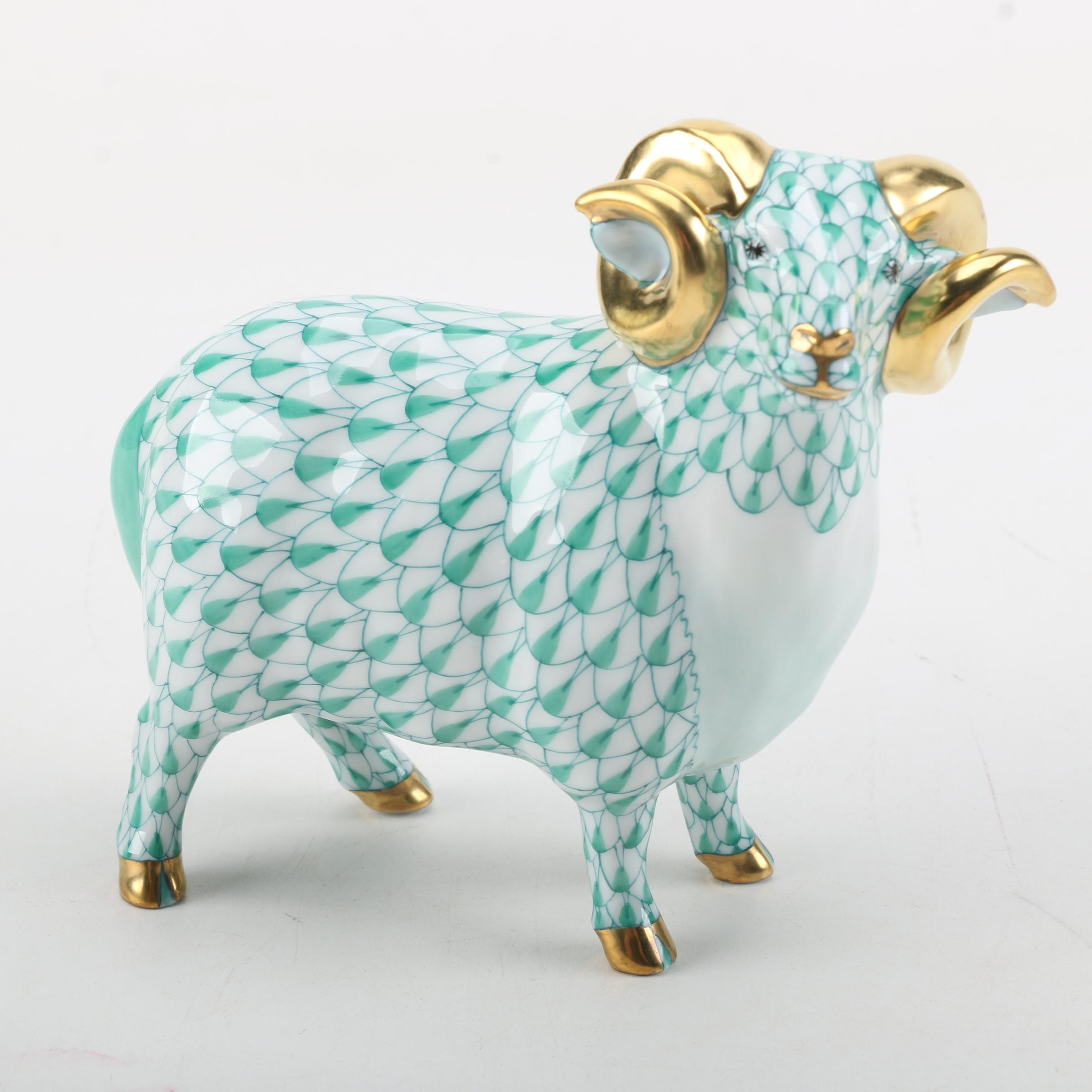 Herend Handmade and Hand-Painted Green Porcelain Ram Figurine with 24K Gold