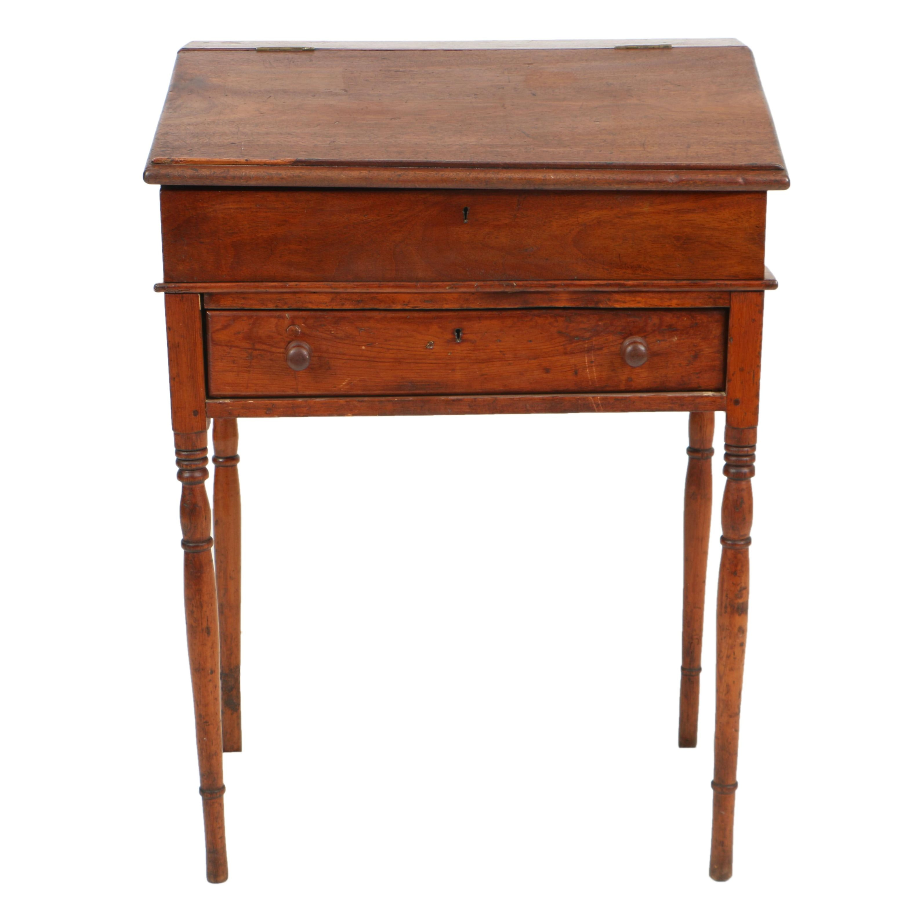 Antique Mahogany and Pine Desk-on-Stand, Circa 19th Century