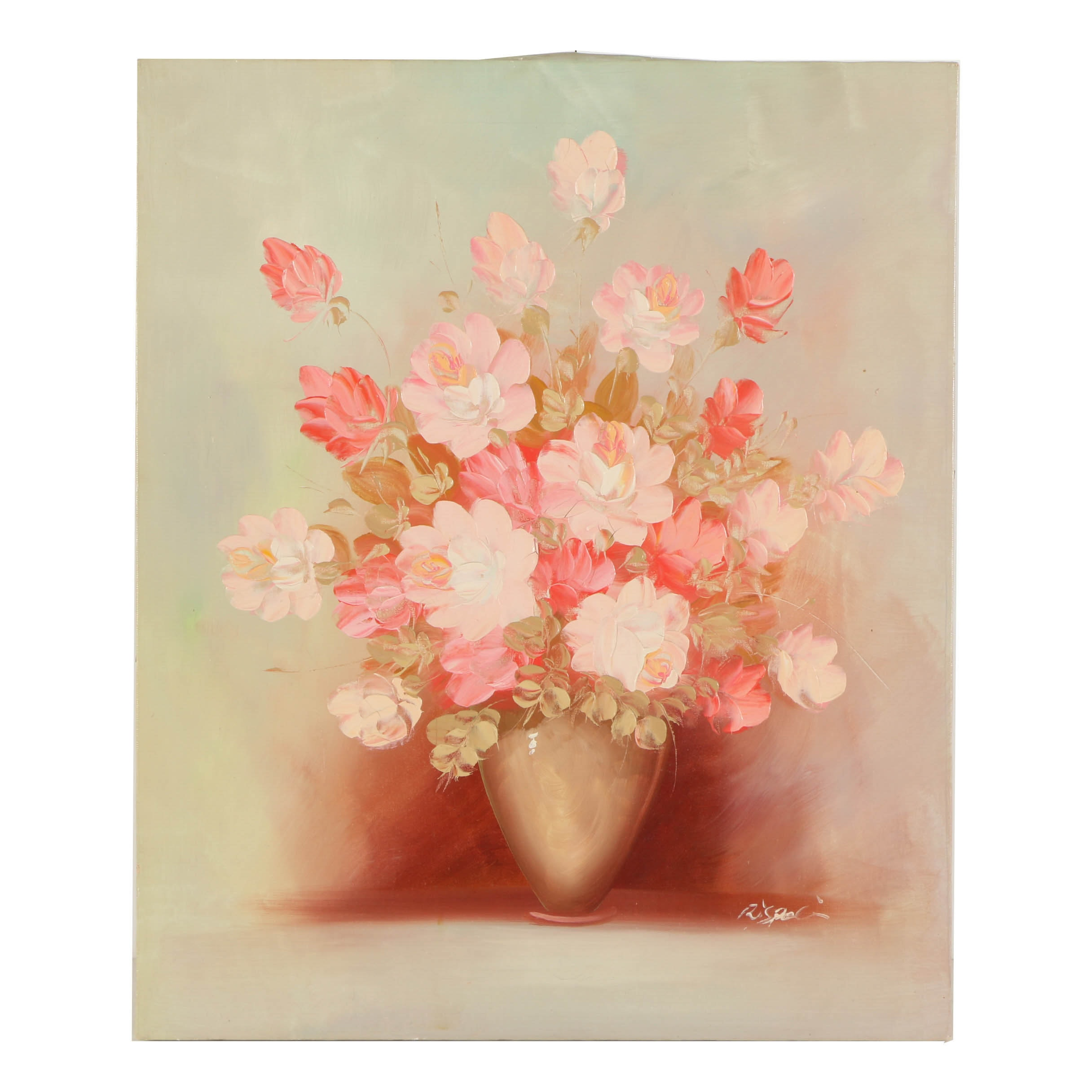 Rispoli Oil Painting on Canvas of Still Life with Pink Roses
