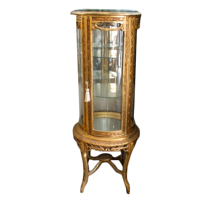 Louis XV Style Giltwood Vitrine Cabinet with Stone Top