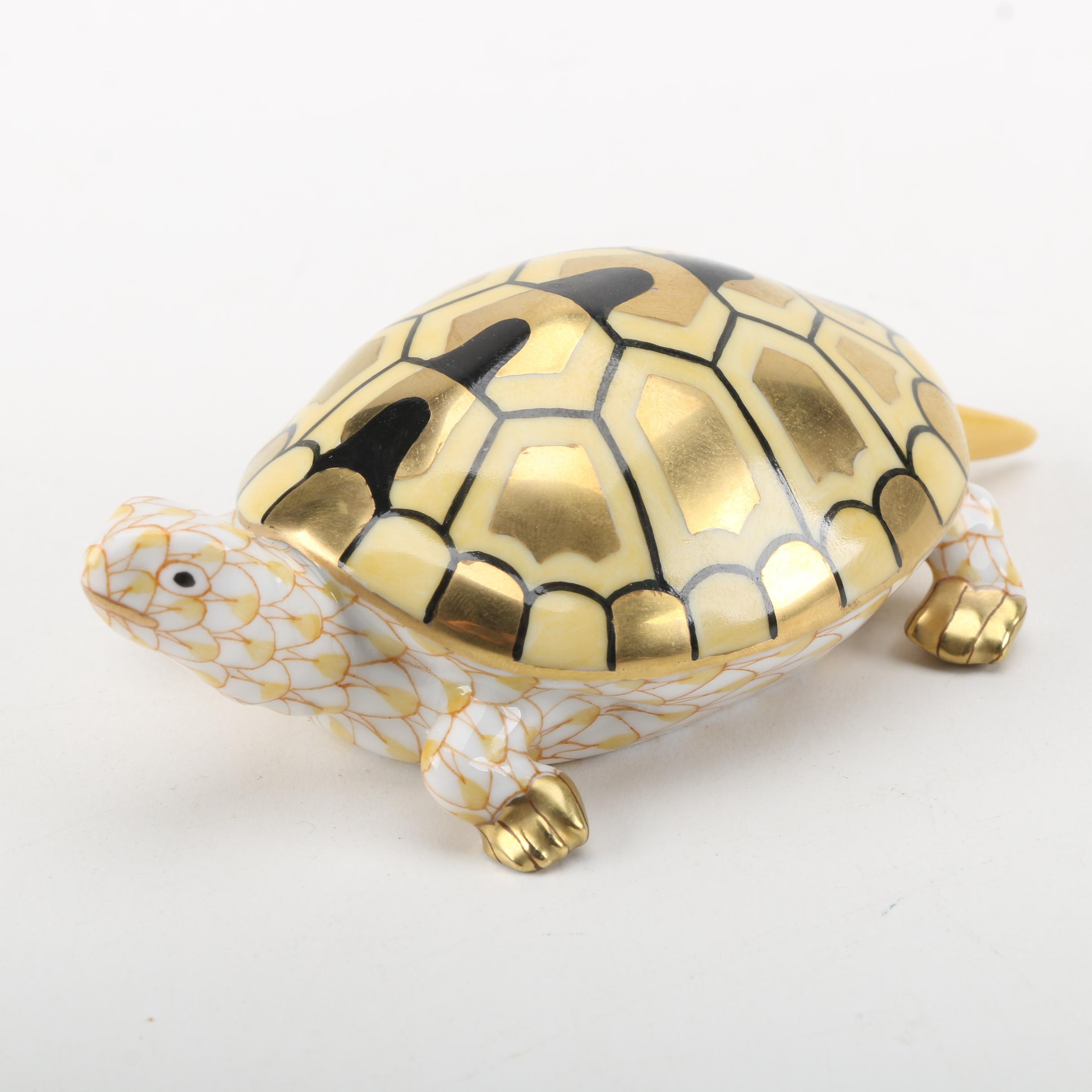 Herend Handmade and Hand-Painted Yellow Porcelain Turtle Figurine with 24K Gold