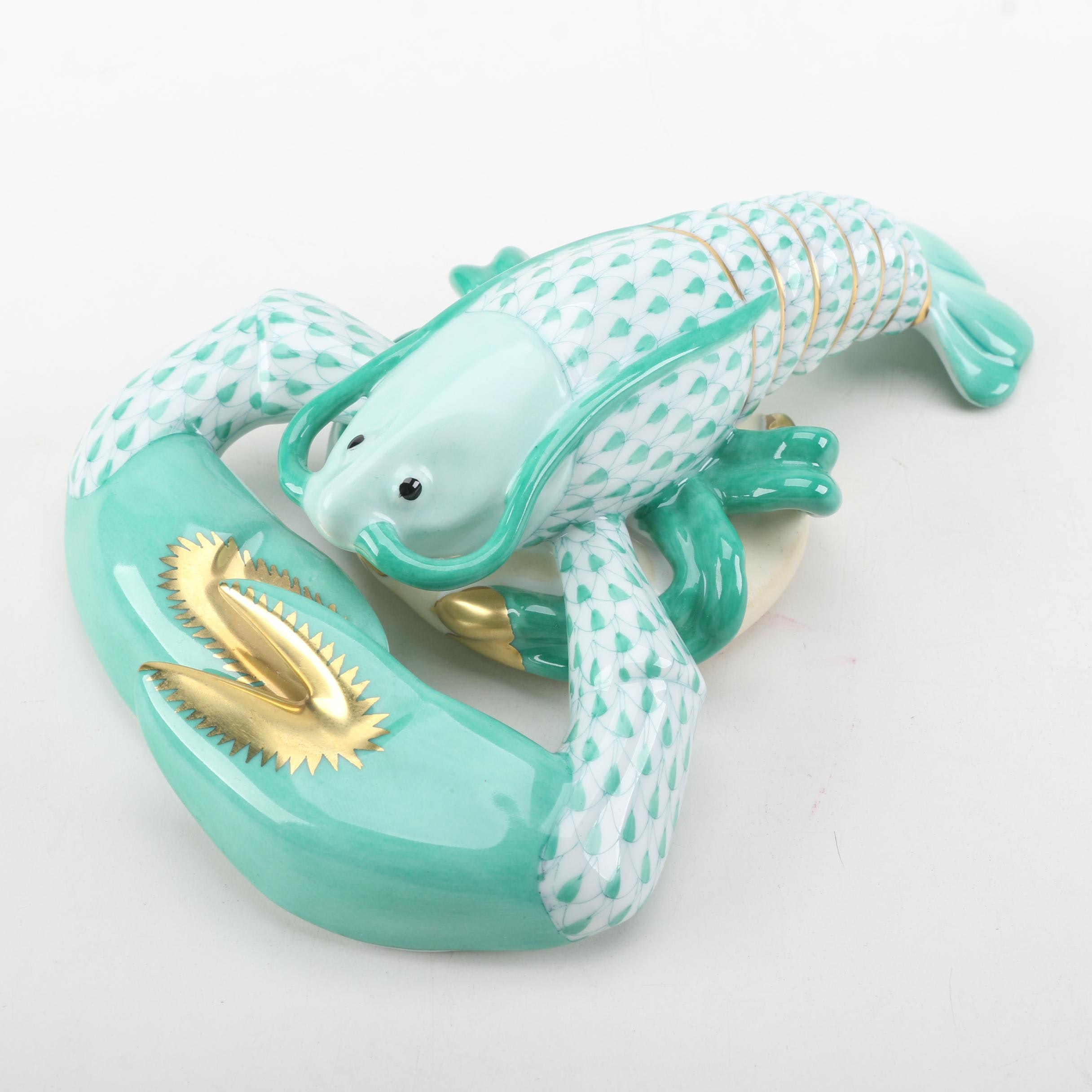 Herend Handmade and Hand-Painted Green Porcelain Lobster Figurine with 24K Gold