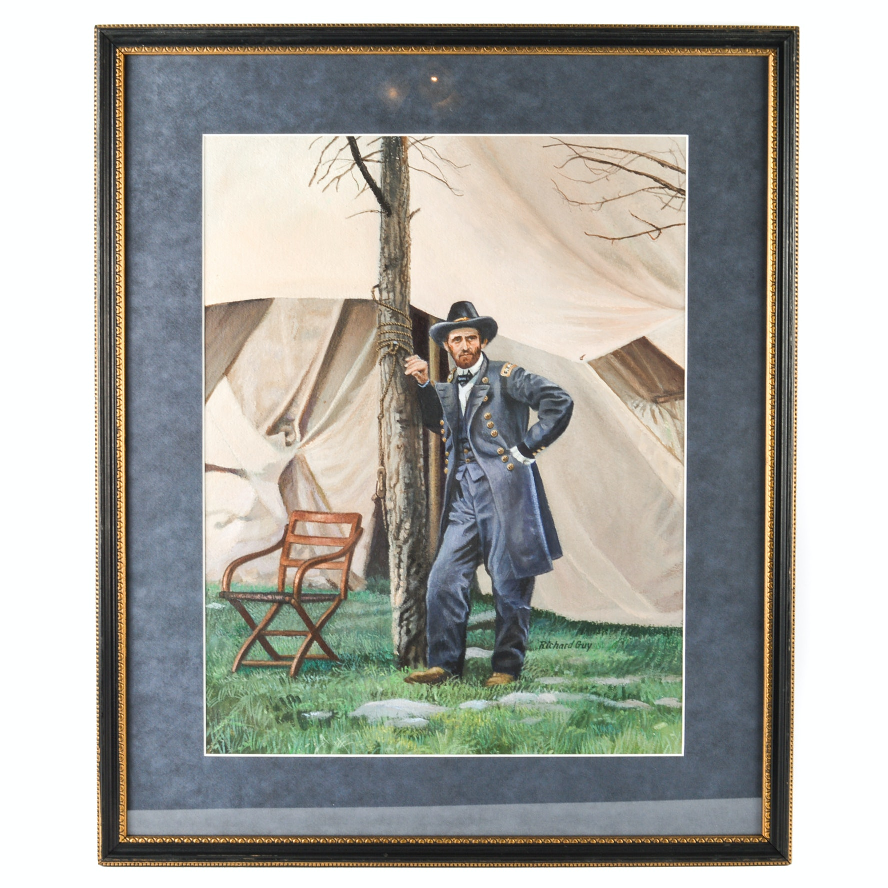 Richard Guy Acrylic on Paper Painting of Ulysses S. Grant