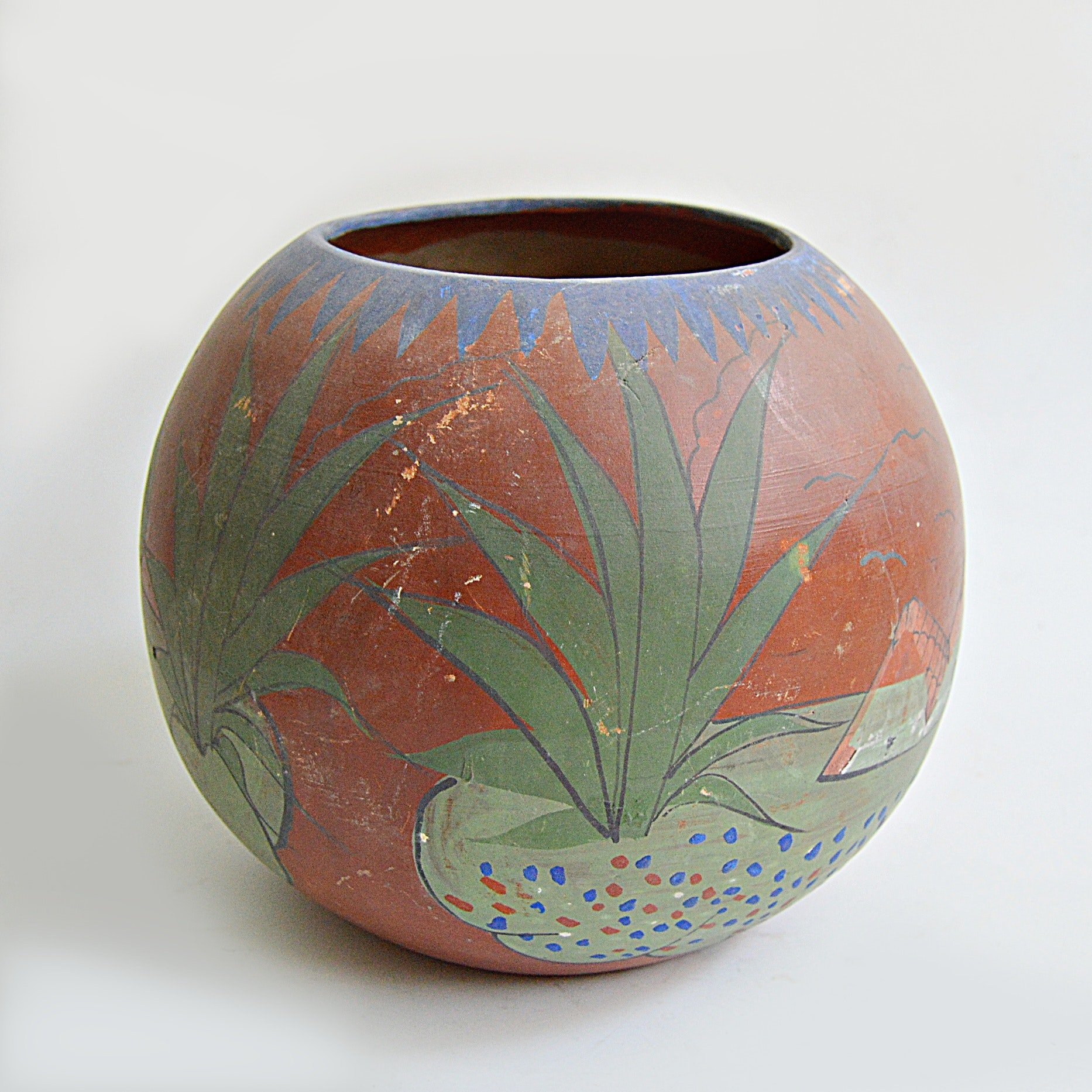 20th Century Mexican Hand Painted Terra Cotta Jar