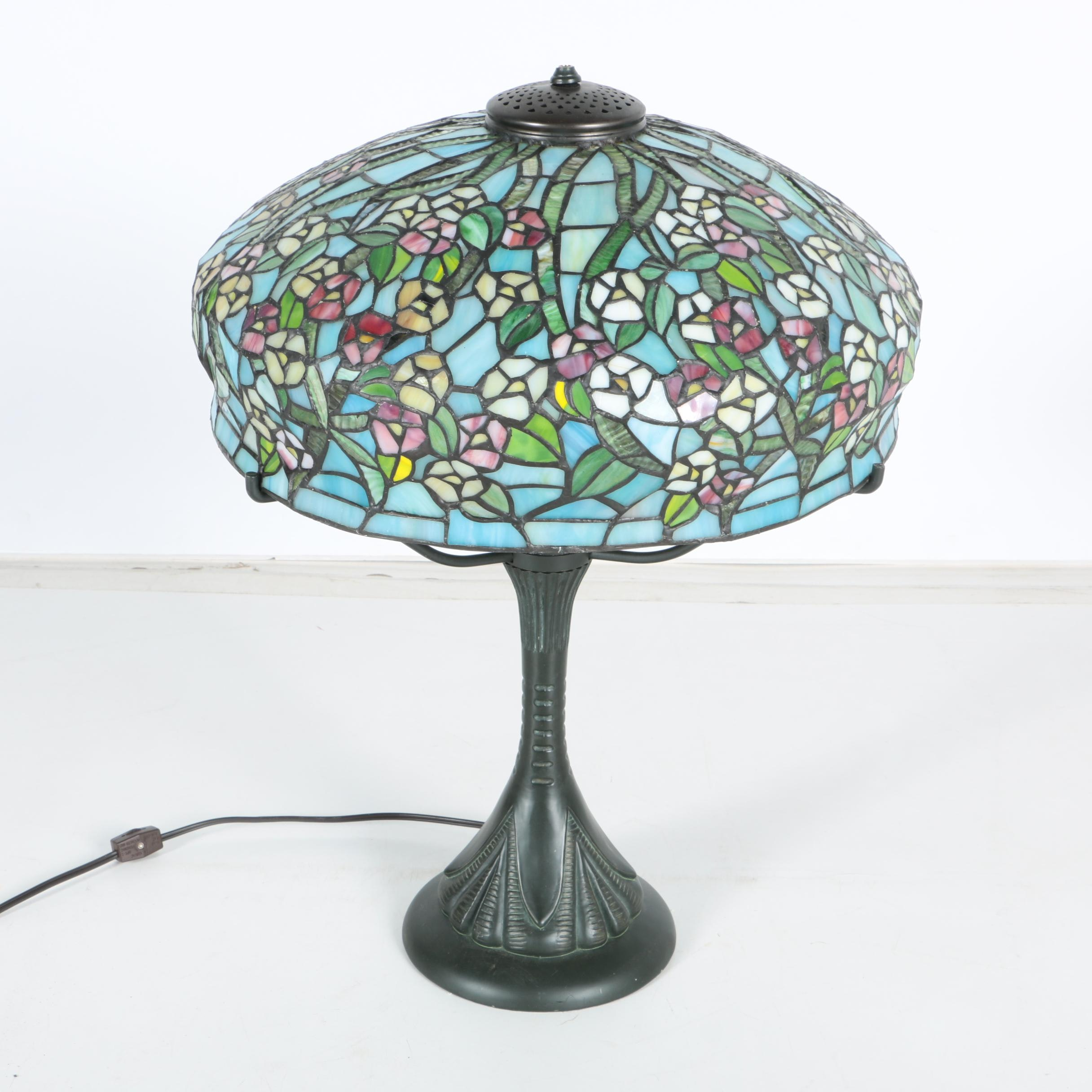 Tiffany Reproduction Lamp with Floral Slag Glass Shade